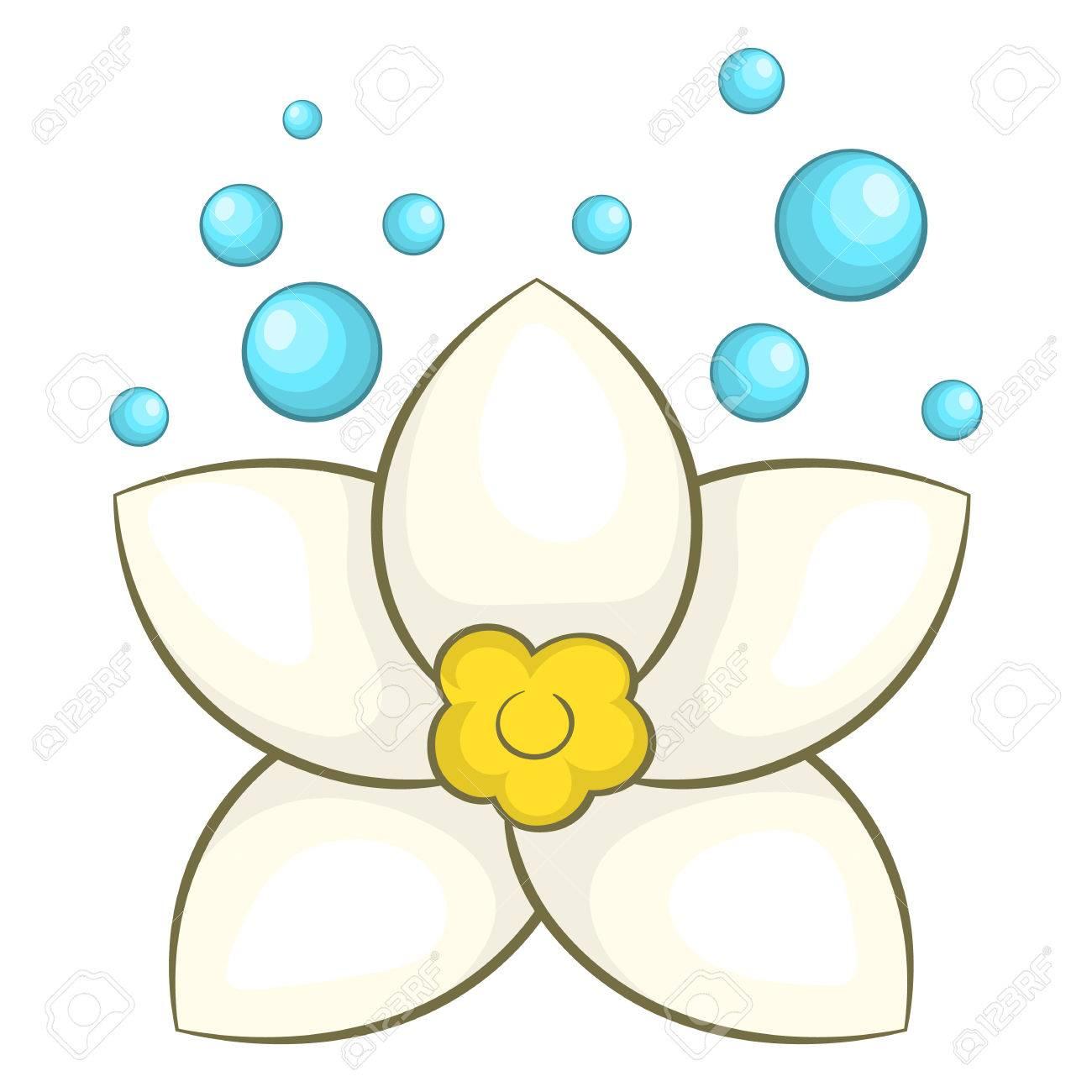 White Lotus Flower Icon In Cartoon Style On A White Background