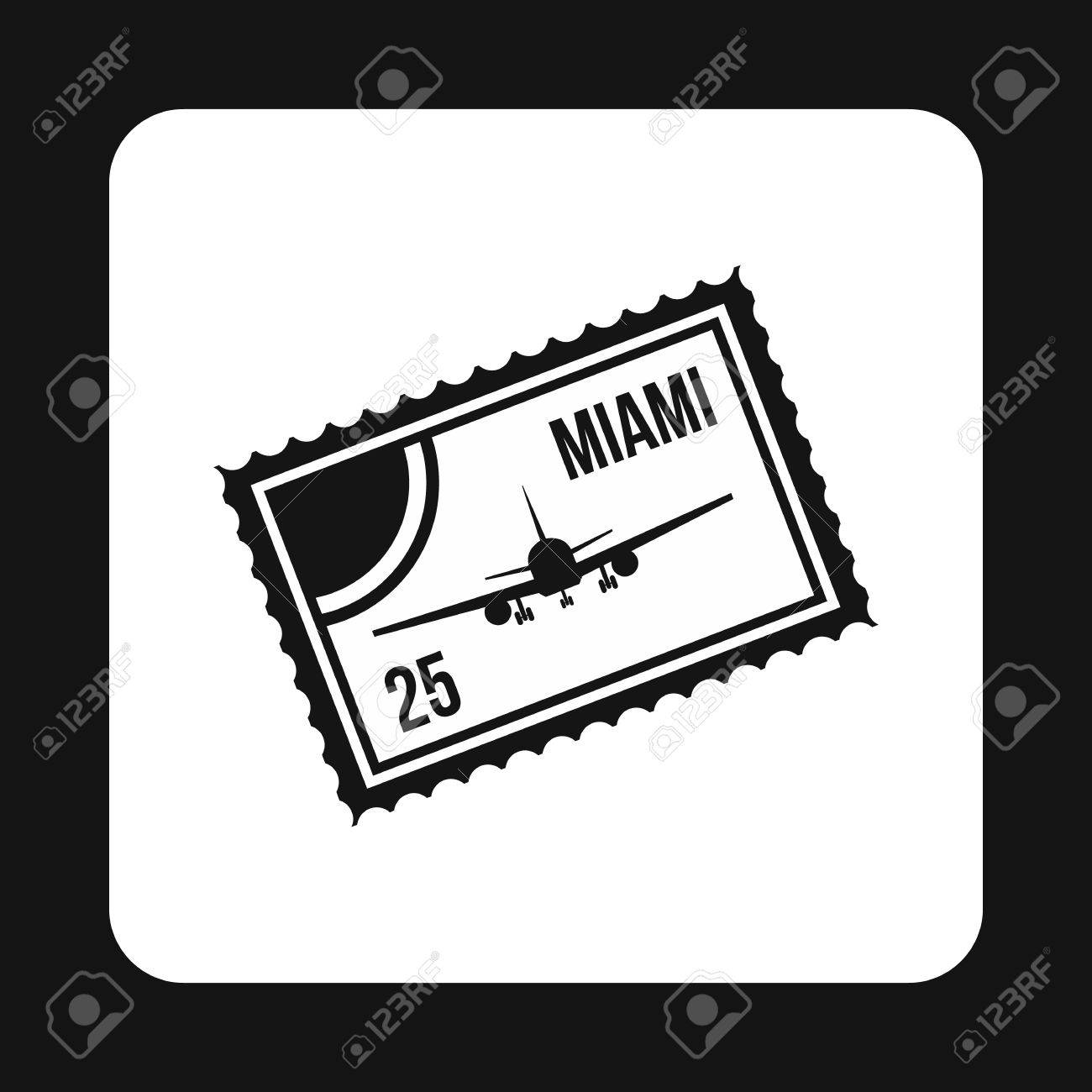 Air Ticket To Miami Icon In Simple Style Isolated On White Background Travel And Flights