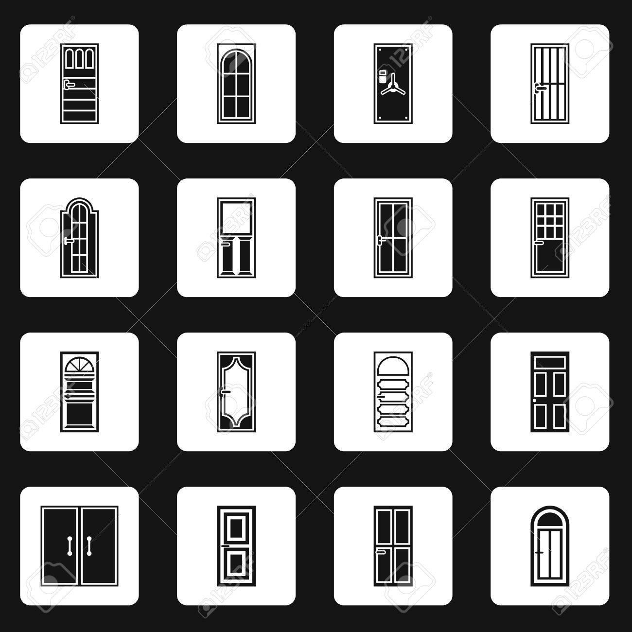 Door Icons Set In Simple Style. Front Doors With Doorframe Set ...
