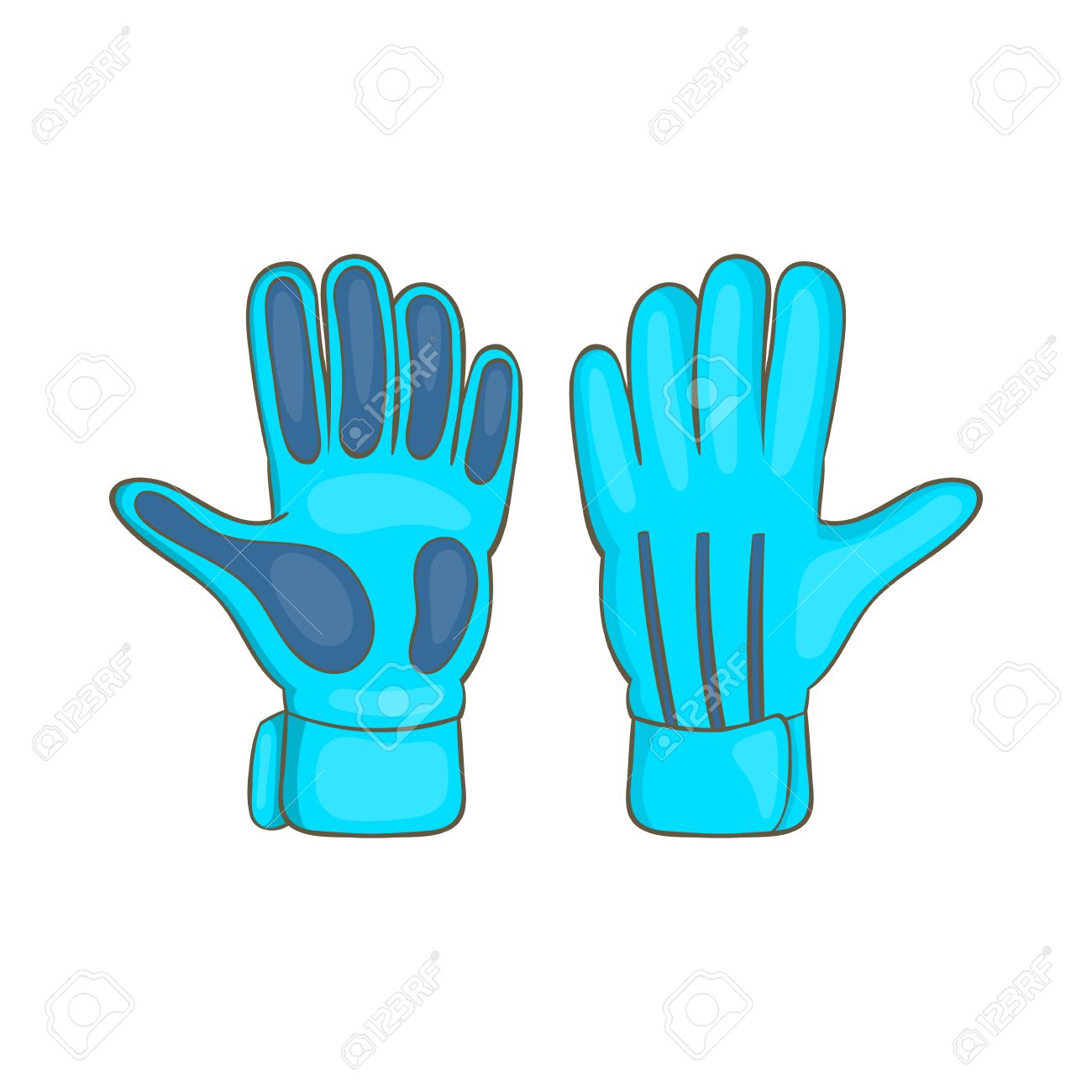 ab8484bb1b0d7 Foto de archivo - Fútbol icono de guantes de portero en el estilo de  dibujos animados aislado en el fondo blanco. símbolo del deporte