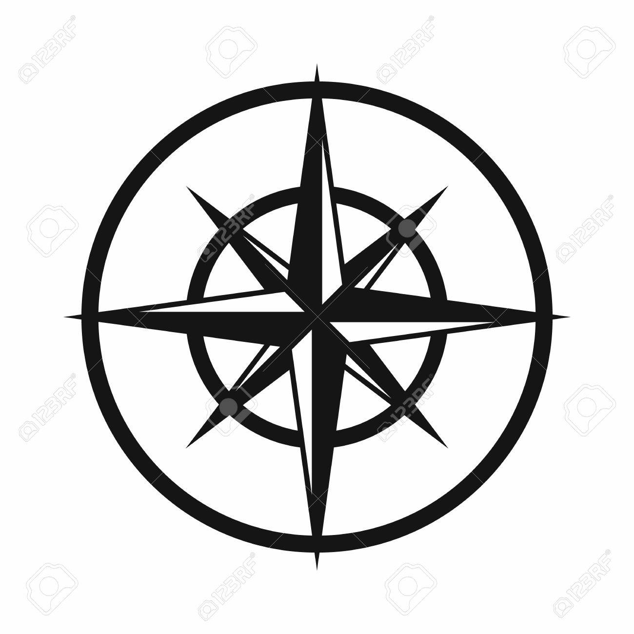 Sign Of Compass To Determine Cardinal Directions Icon In Simple
