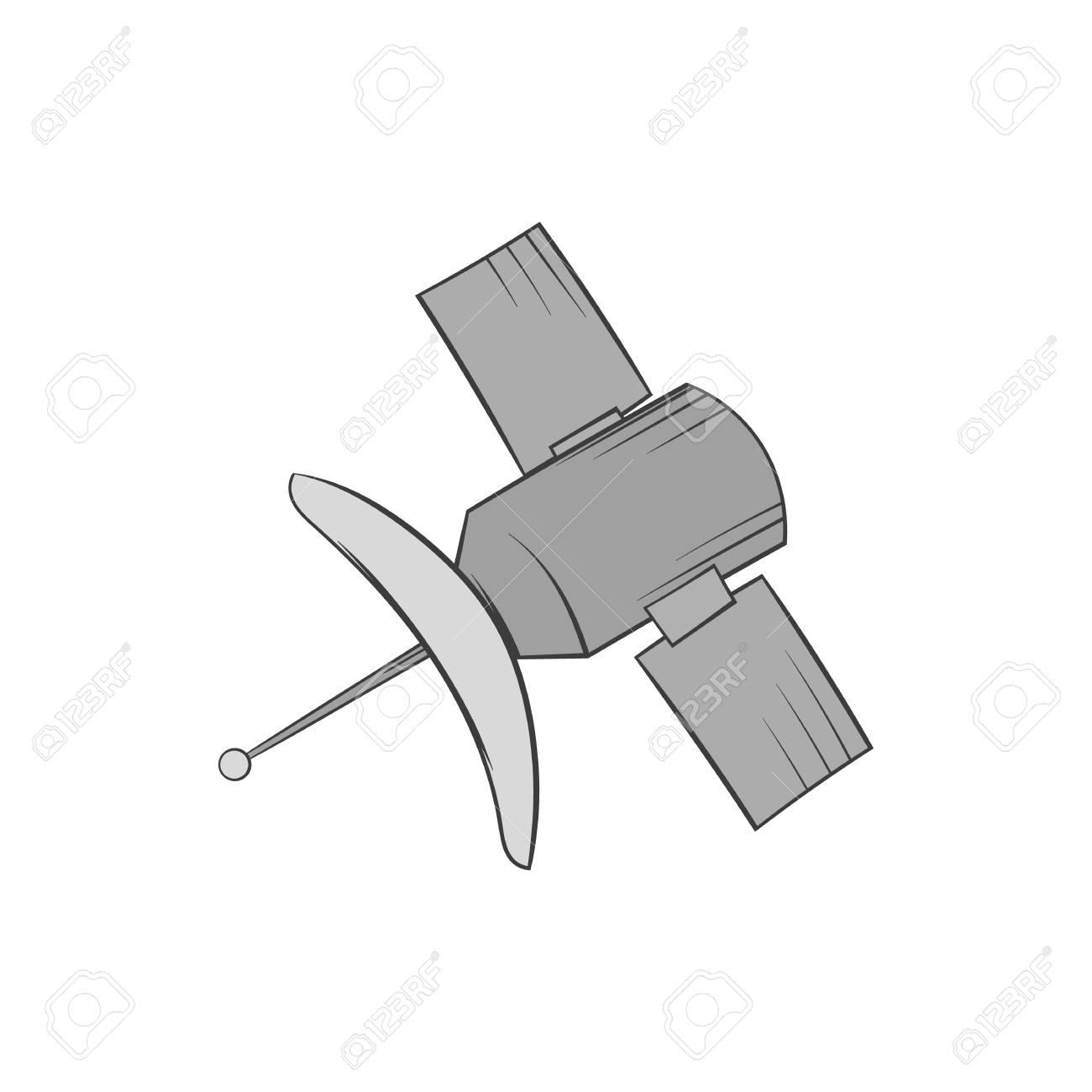 Satelliten-Symbol In Schwarz Monochrom-Stil Auf Weißem Hintergrund ...