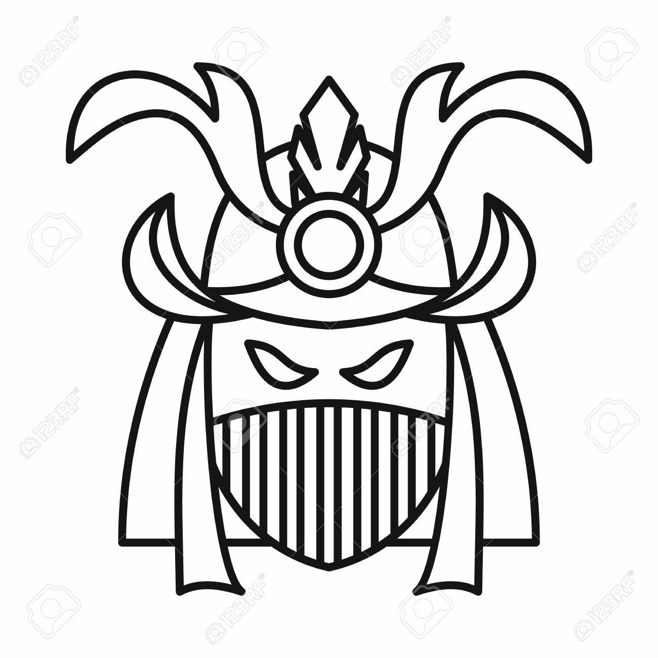 Japanese Samurai Mask Icon In Outline Style Isolated On White Background  Vector Illustration Stock Vector