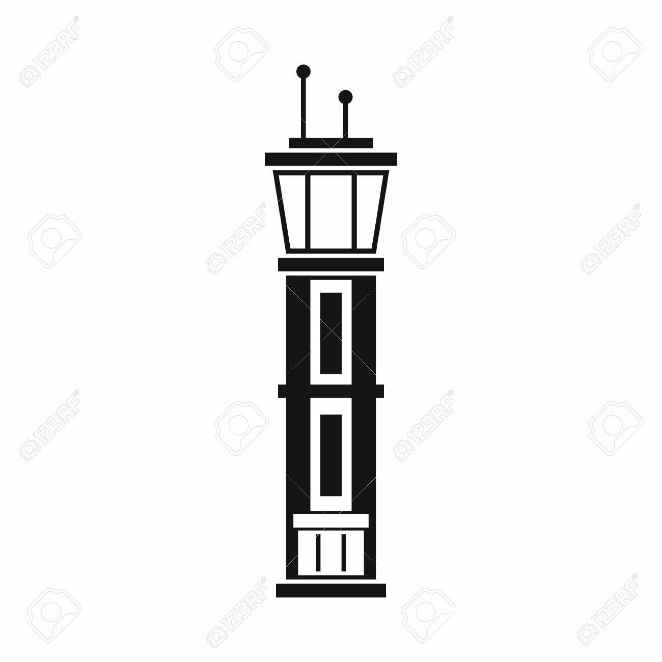 Airport control tower icon in simple style isolated on white background vector illustration - 62418955