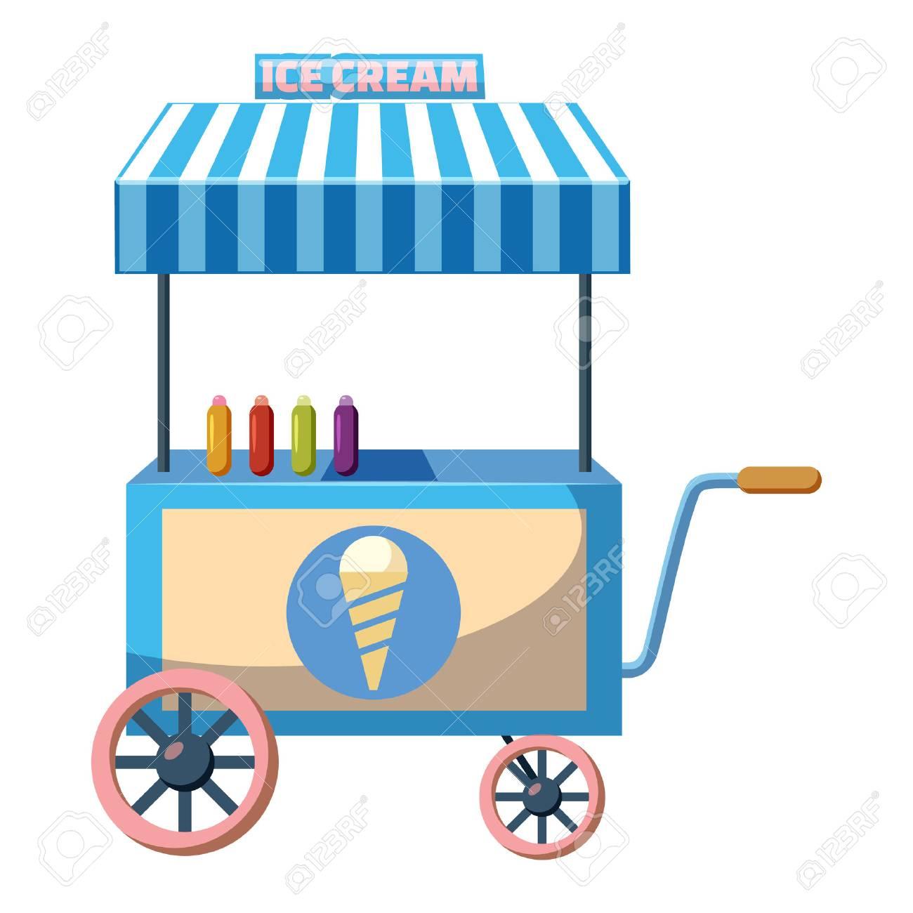Wagen Mit Eis Symbol Im Cartoon Stil Auf Weißem Hintergrund ...