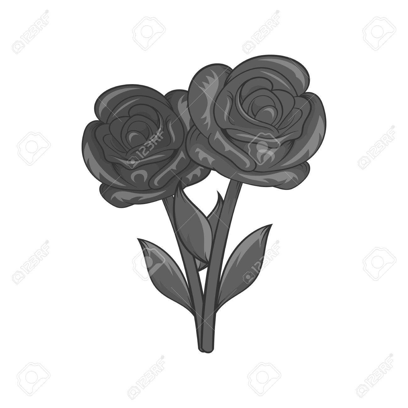 Flowers On Grave Icon In Black Monochrome Style Isolated On White