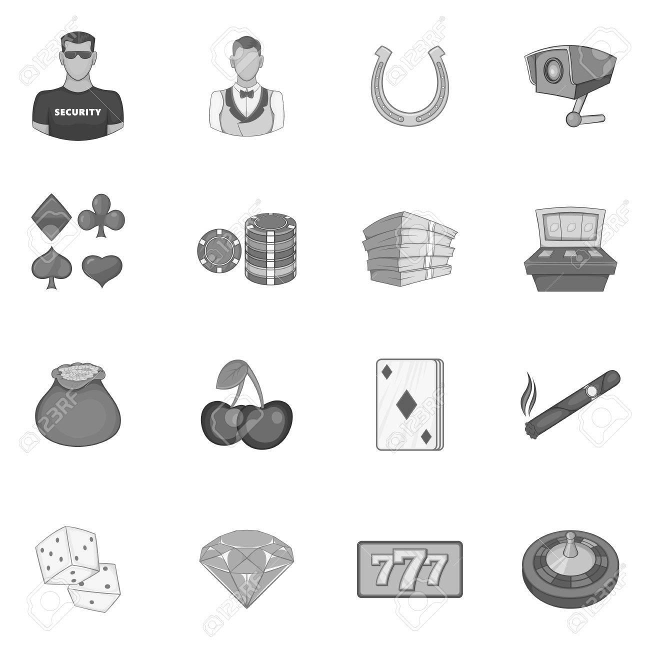 9b2a7f82b8646 Foto de archivo - Iconos de casino ubicado en el estilo monocromático  negro. elementos de juego conjunto de recopilación ilustración vectorial
