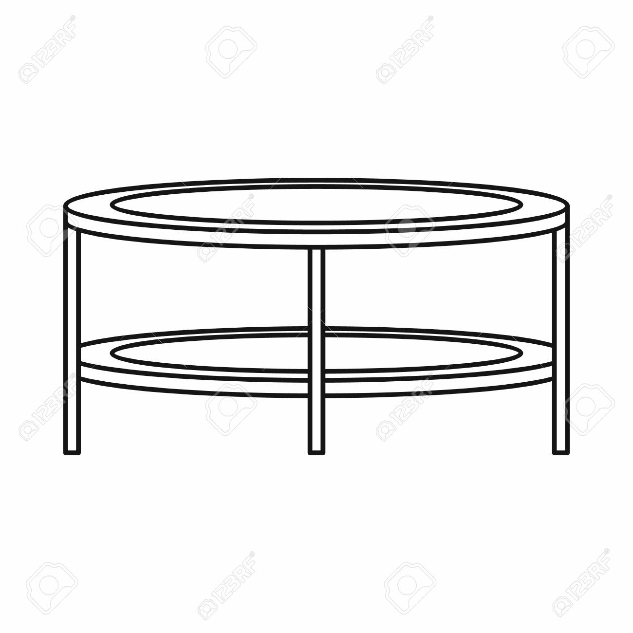 Coffee Table Icon In Outline Style On A White Background Vector Illustration Stock