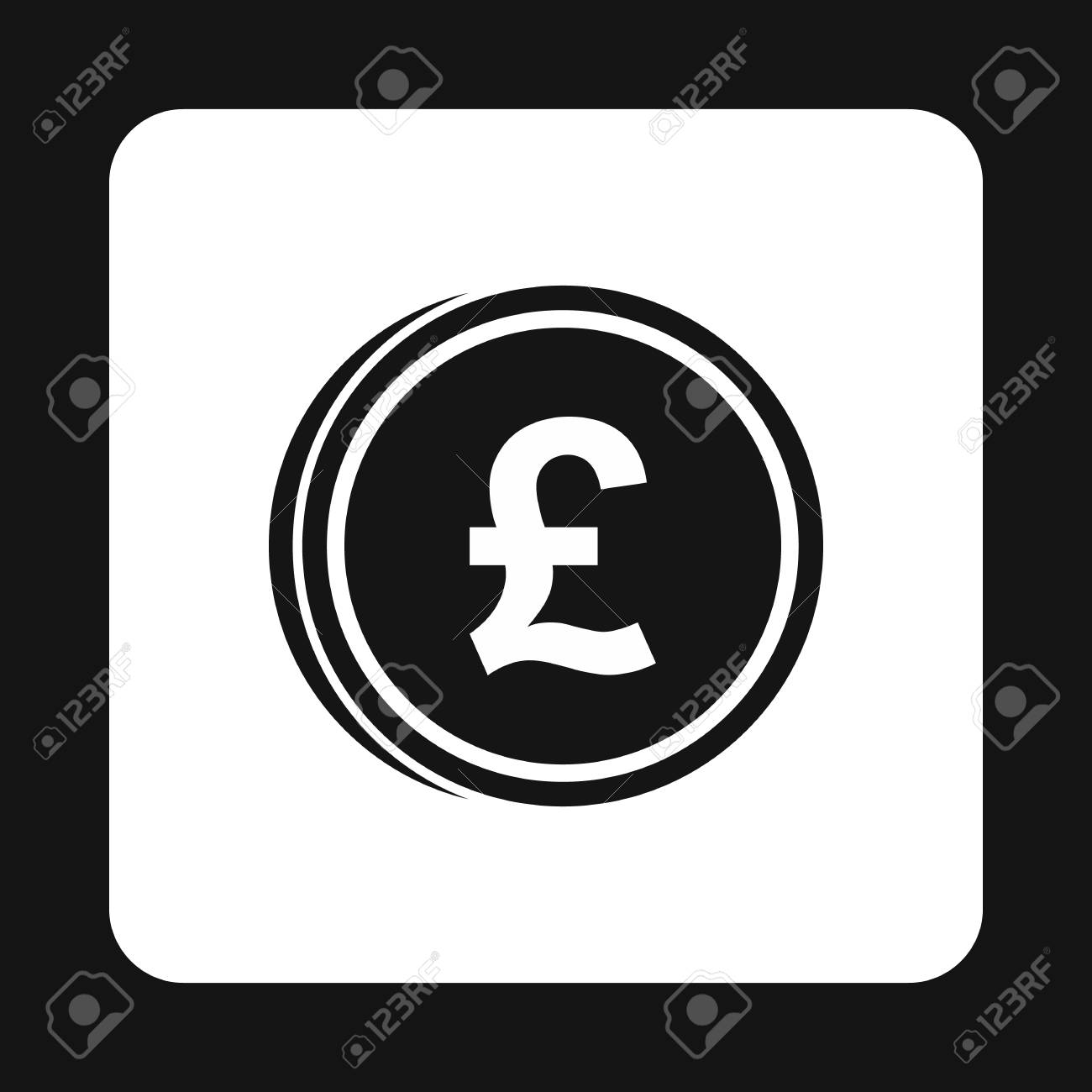 Coins Of Pound Icon In Simple Style Isolated On White Background