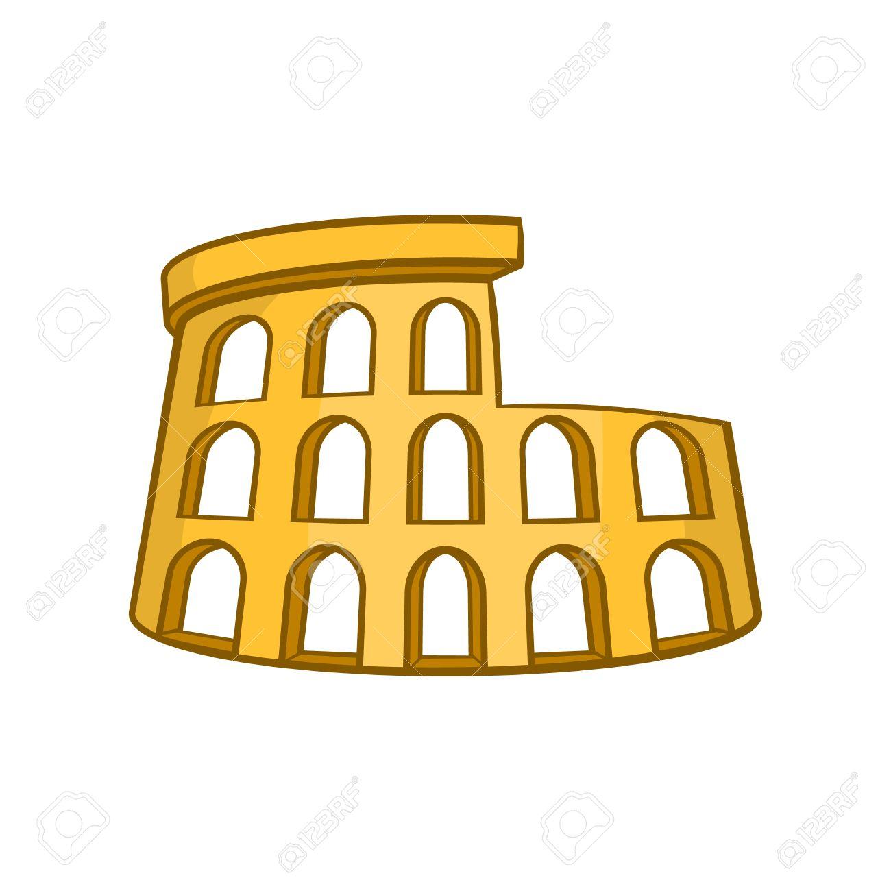 Icono Coliseo Romano En Estilo De Dibujos Animados Aislado En El