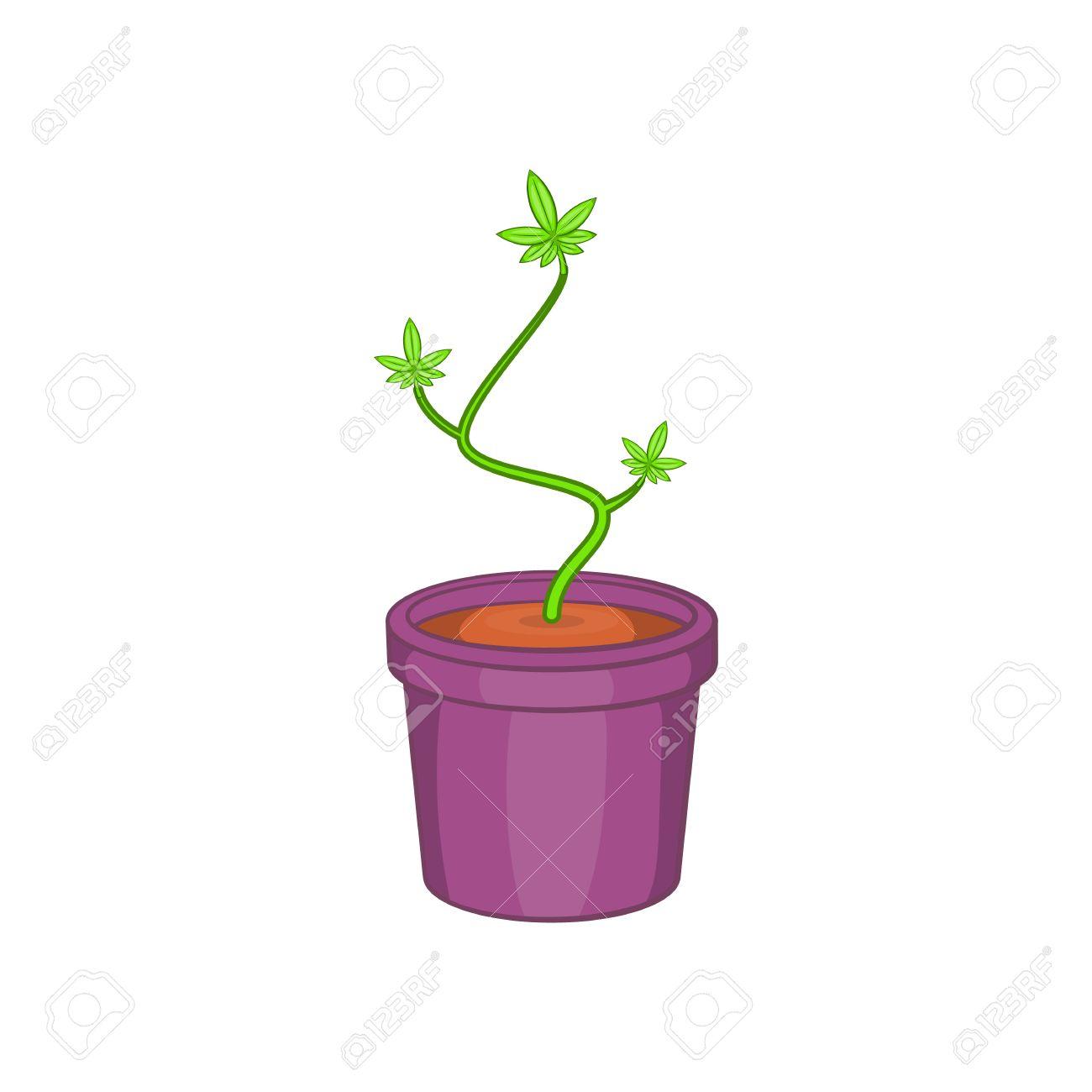 La Marijuana Ou De Cannabis En Pot De Fleur Icone Dans Le Style De