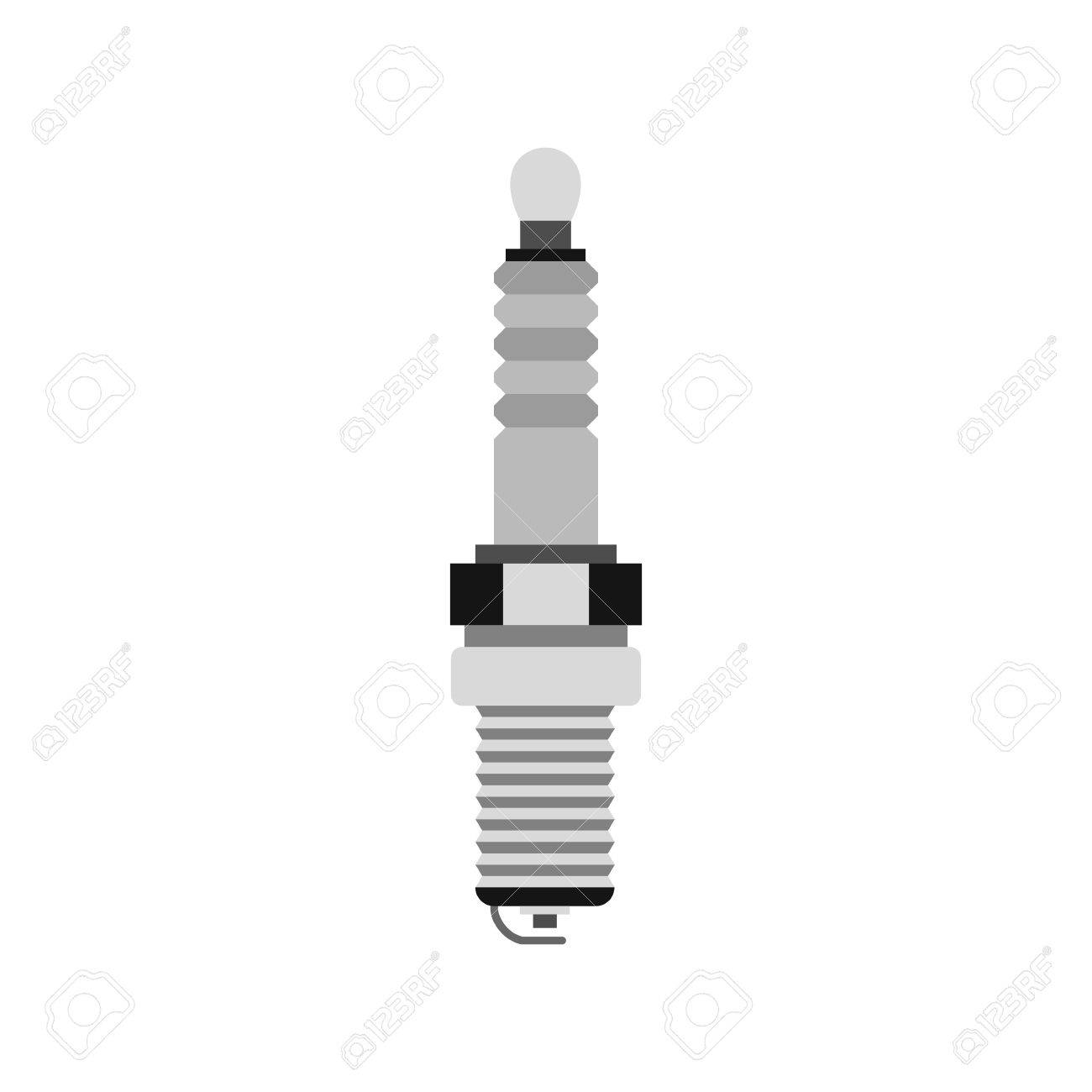 Spark Plug Icon In Flat Style Isolated On White Background