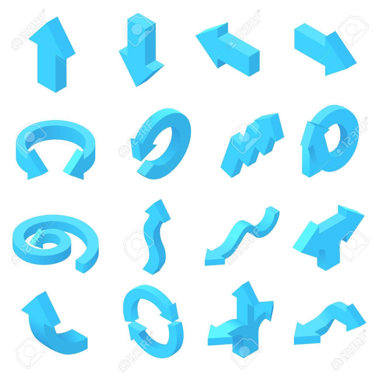 cd75e8319f818 Flechas de conjunto de iconos en 3D isométrica estilo. punteros azules  conjunto de recopilación ilustración