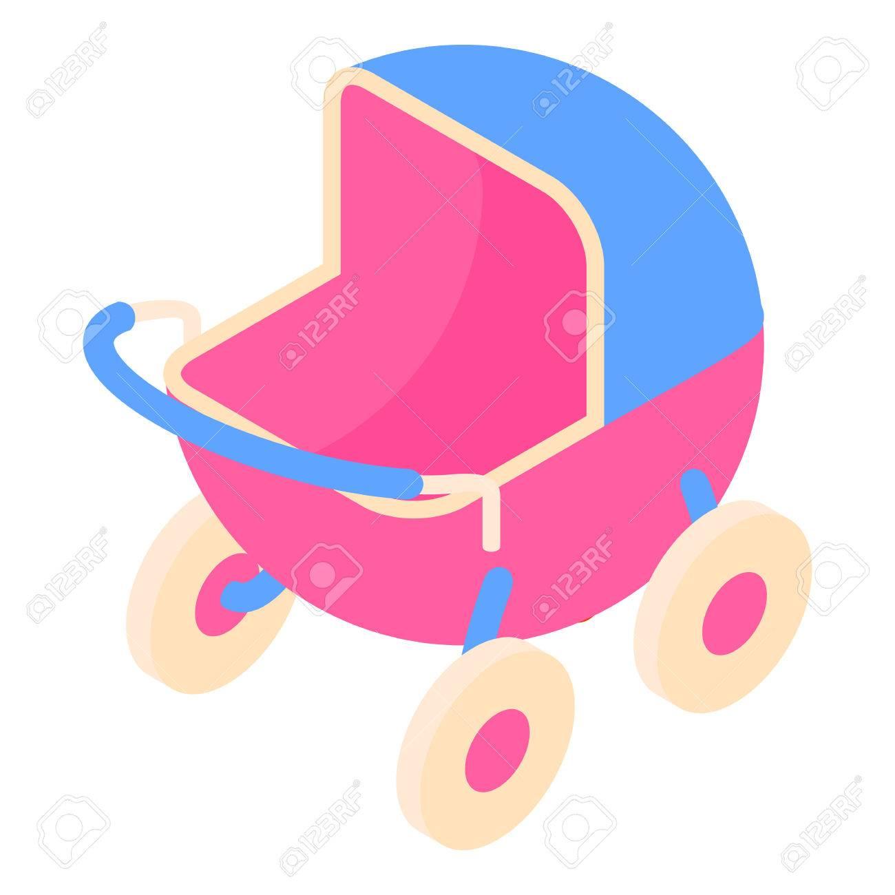 Icono de cochecito de bebé en estilo de dibujos animados aislado en el fondo blanco ilustración vectorial