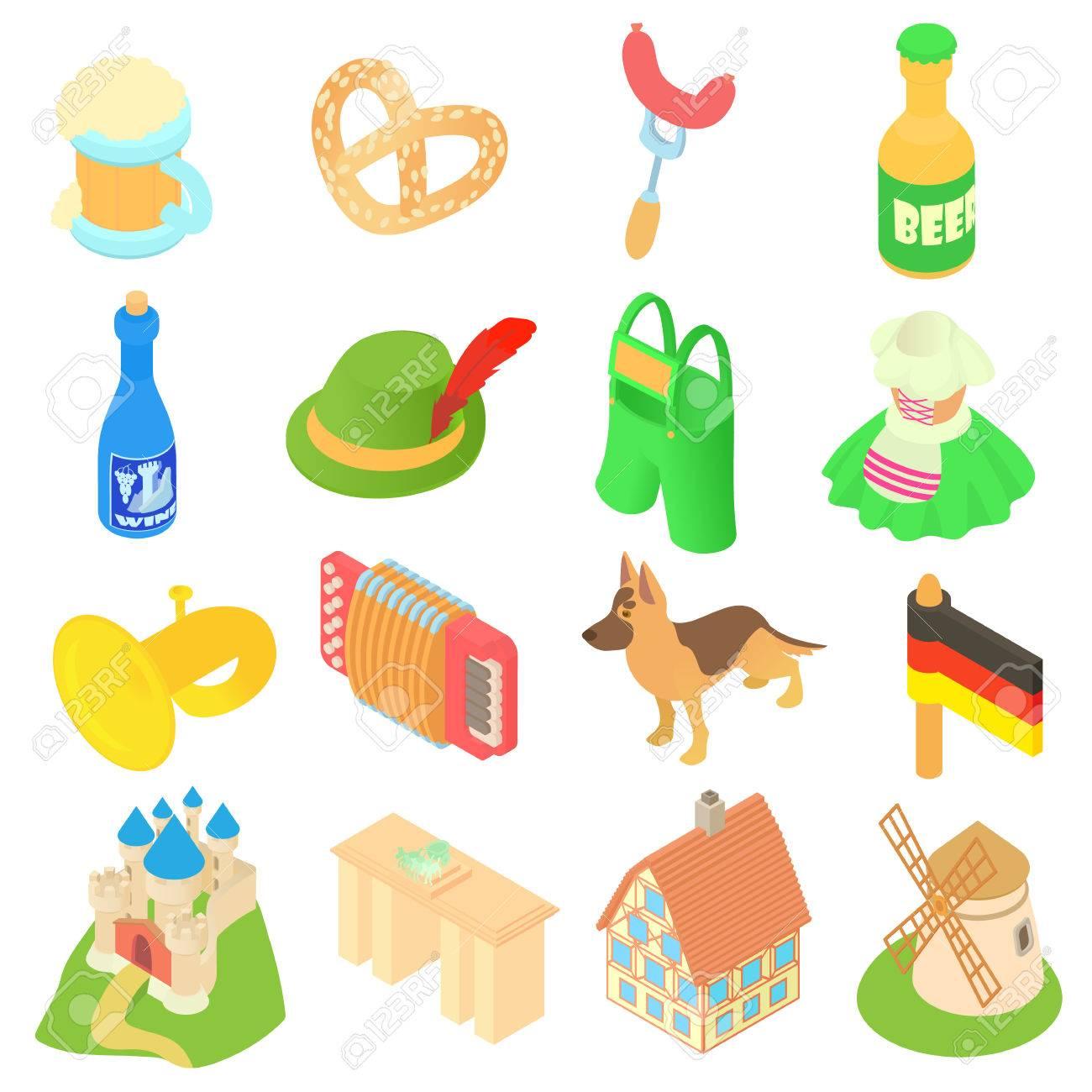 432bea202d688 Foto de archivo - Iconos de Alemania ubicado en el estilo 3D isométrica.  Alemania elementos Fest y atracciones conjunto de recopilación ilustración  ...