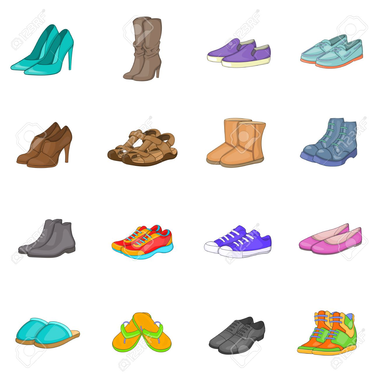 shoe icons set in cartoon style men and women shoes set collection