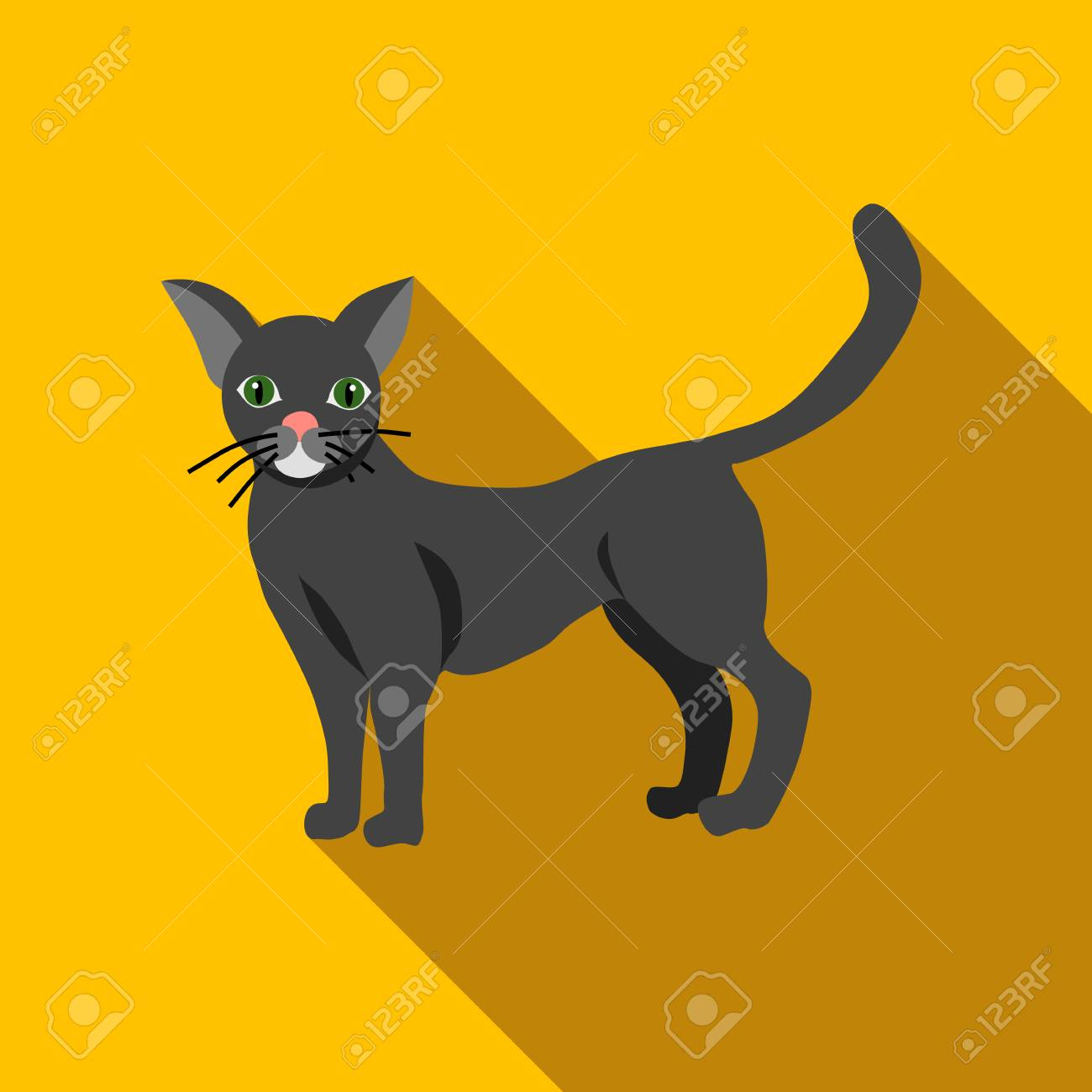 Halloween Black Cat Icon In Flat Style Isolated With Long Shadow ...