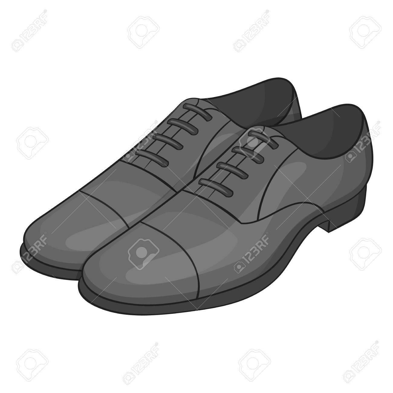 Para hombre icono clásico zapatos de estilo de dibujos animados aislado en el fondo blanco. Use ilustración vectorial símbolo