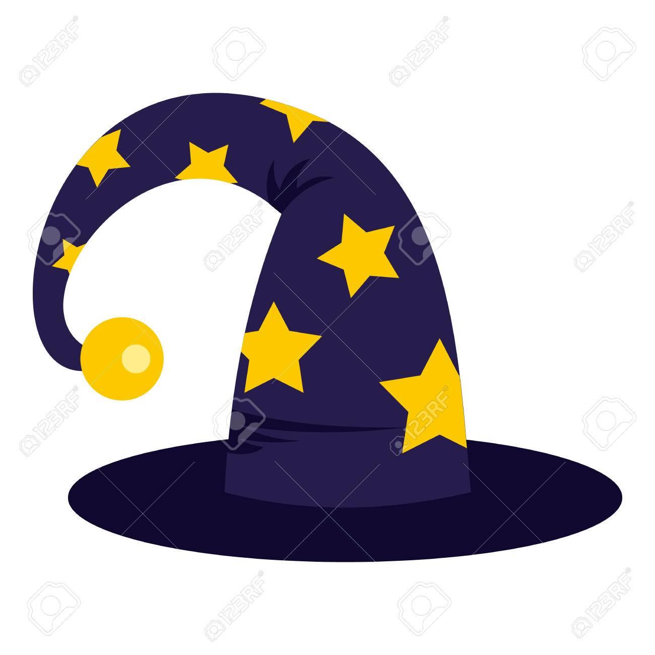 acquista per il meglio vendita outlet a poco prezzo Icona del cappello di mago in stile piano isolato su priorità bassa bianca.  Trucchi simbolo illustrazione vettoriale