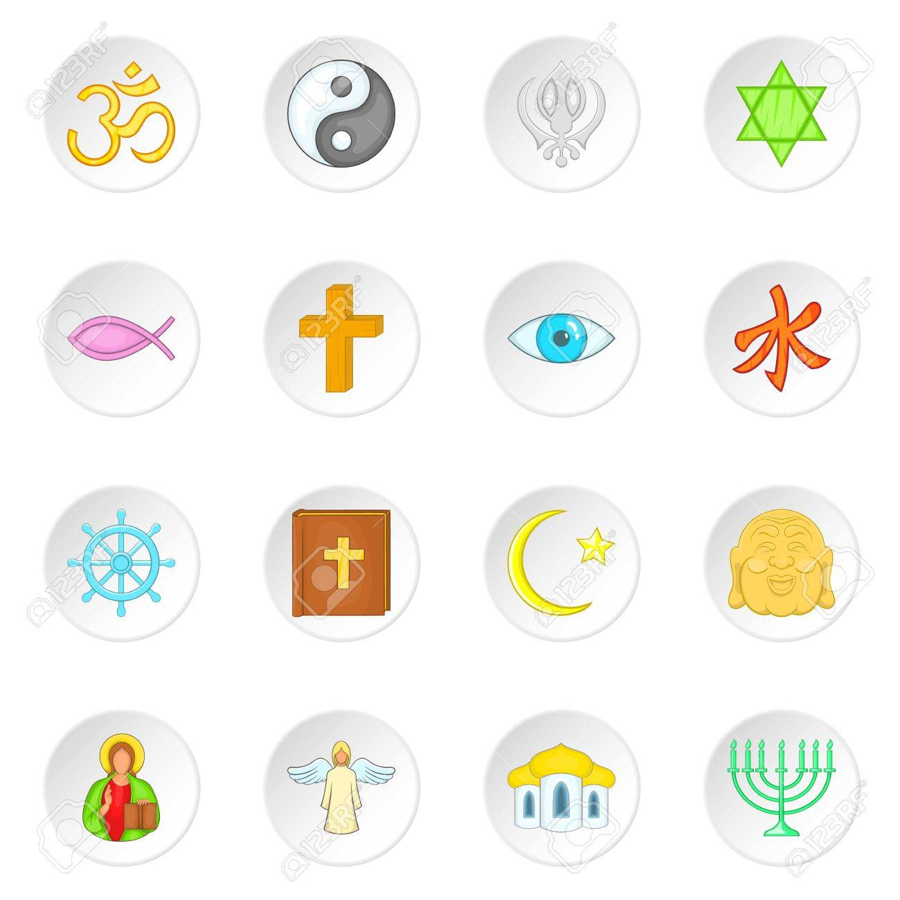Religion symbols icons set in cartoon style world religions religion symbols icons set in cartoon style world religions set collection vector illustration stock vector buycottarizona