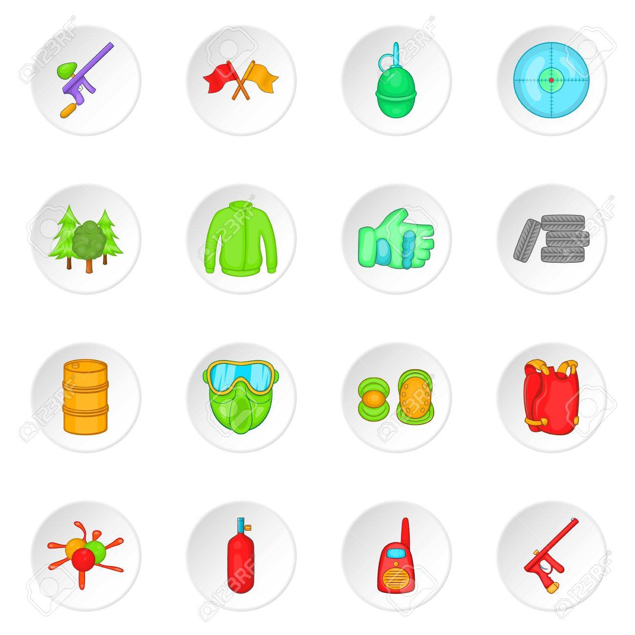 Paintball Icons Set In Cartoon Style Airsoft Equipment And Outfit