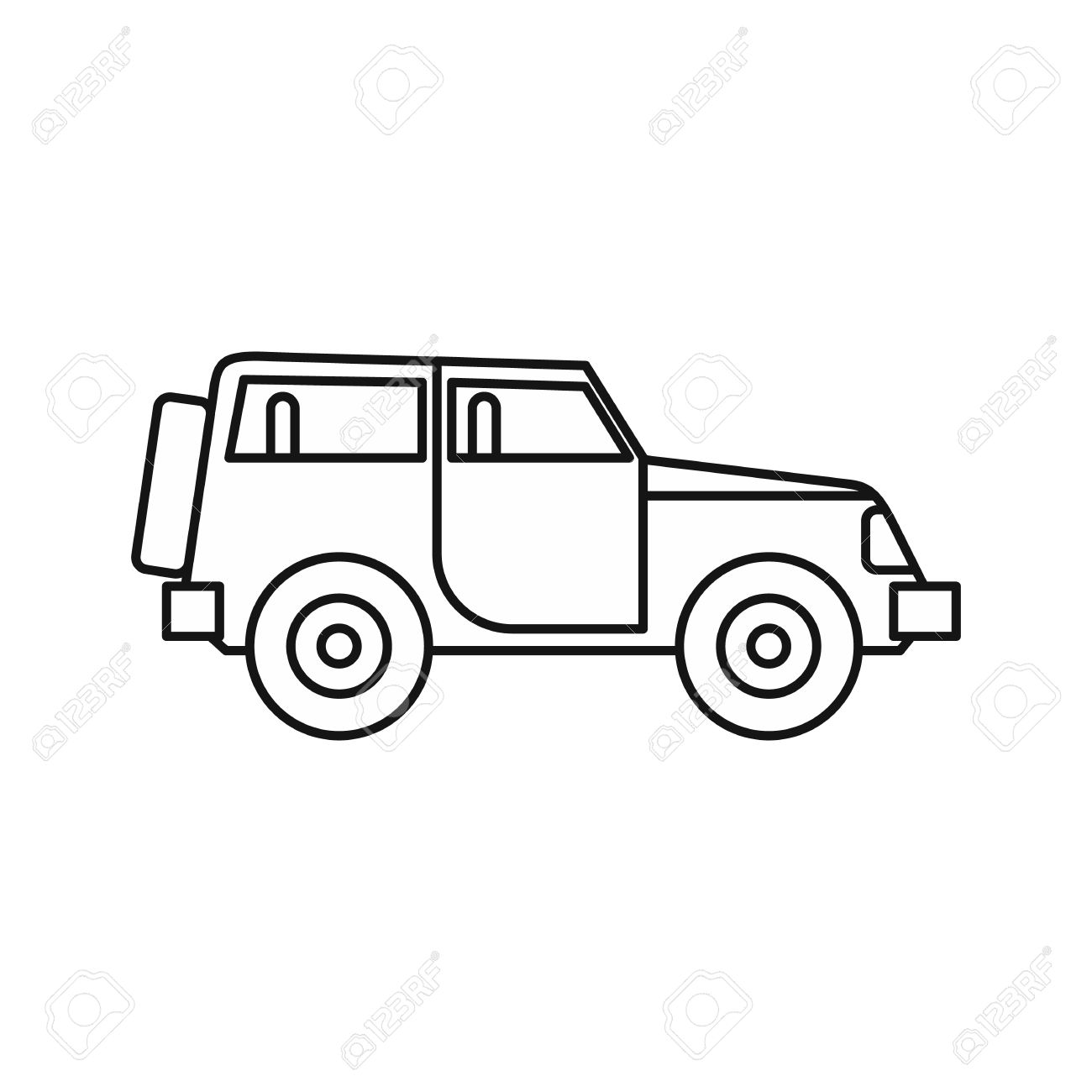 jeep icon in outline style on a white background vector illustration
