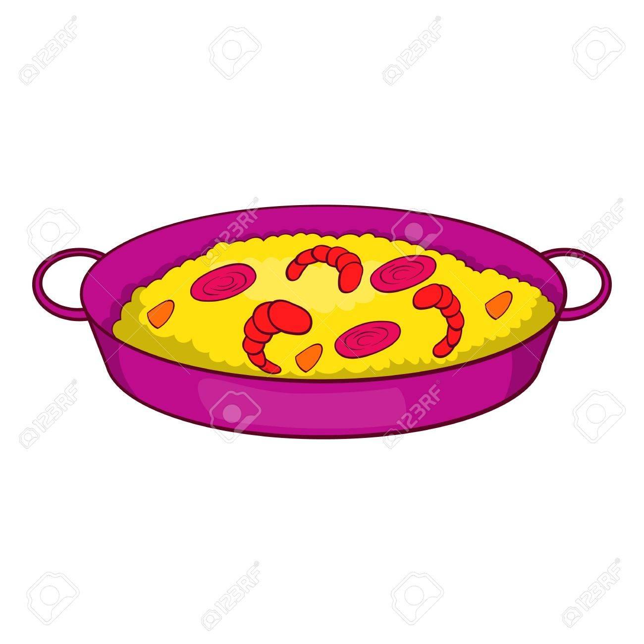 Dessin Paella paella aux fruits de mer sur l'icône de la poêle en style cartoon