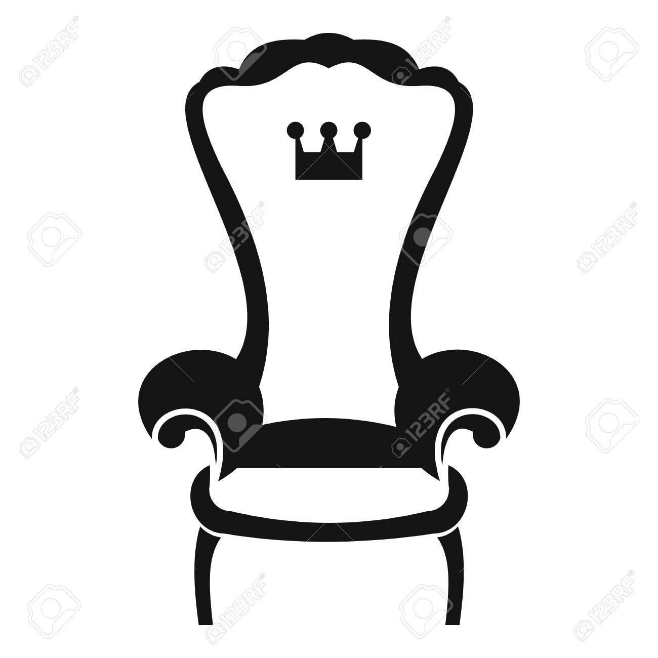 Roi Chaise Trone Icone Dans Un Style Simple Sur Fond Blanc