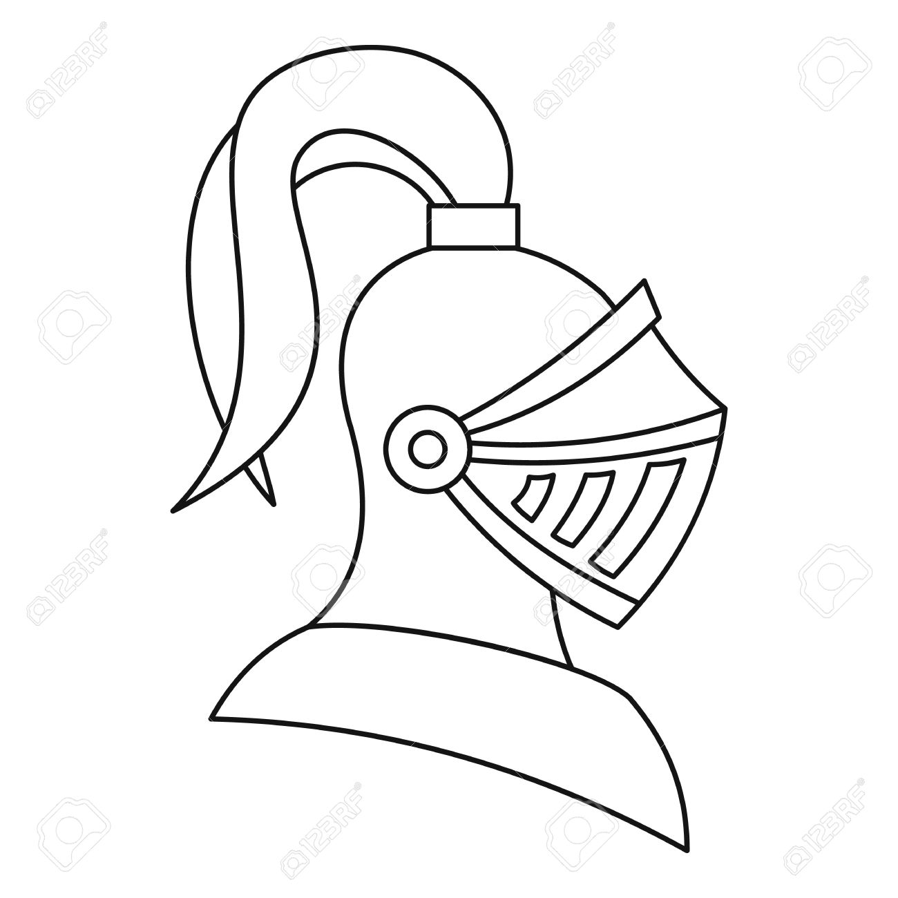 Medieval Knight Helmet Icon In Outline Style On A White Background