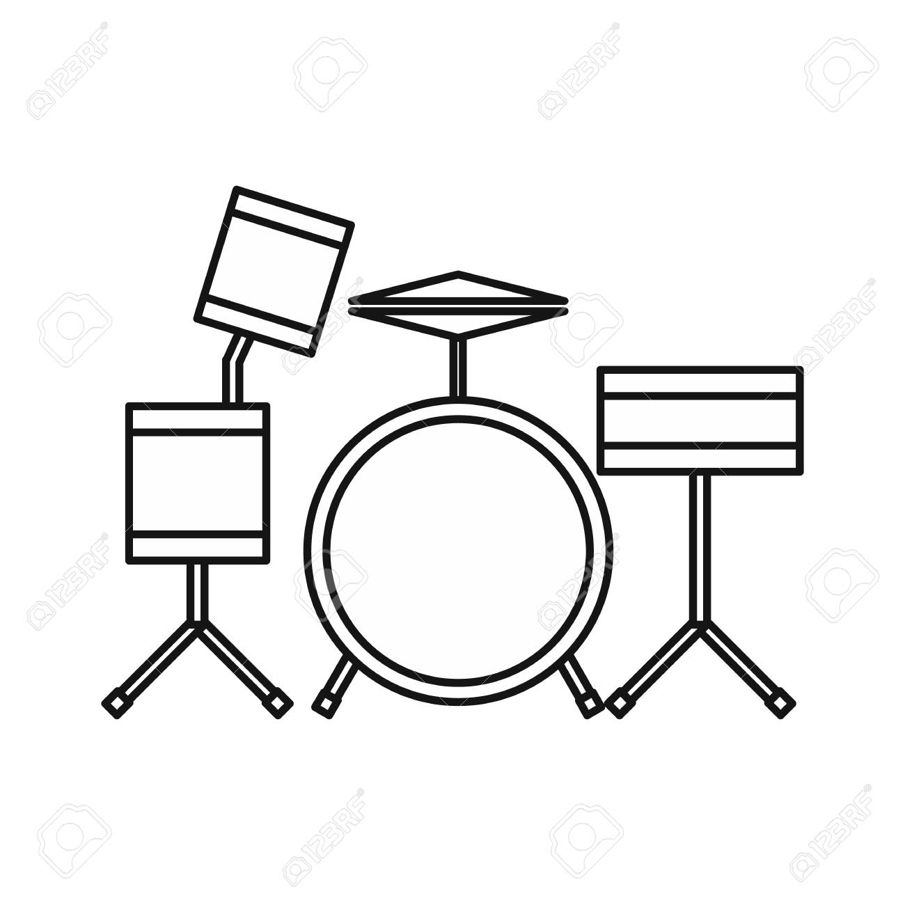 Drums Icon In Outline Style Isolated On White Background Musical
