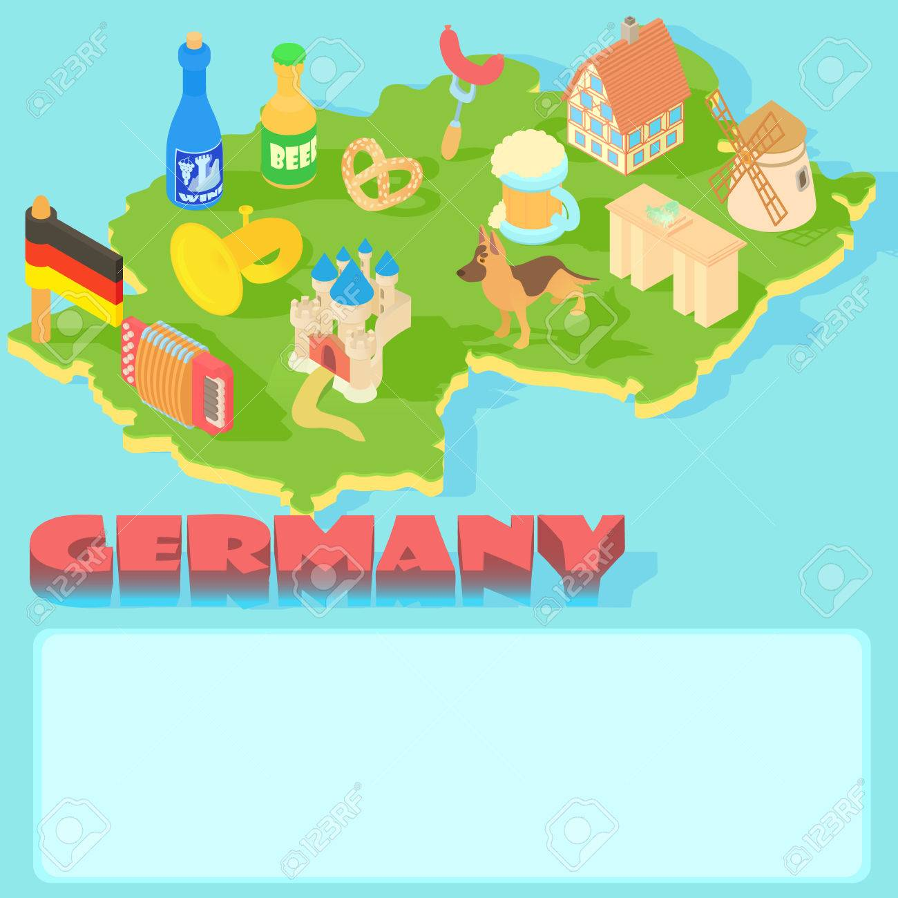Cartoon Map Of Germany.Germany Map In Cartoon Style For Any Design Royalty Free Cliparts