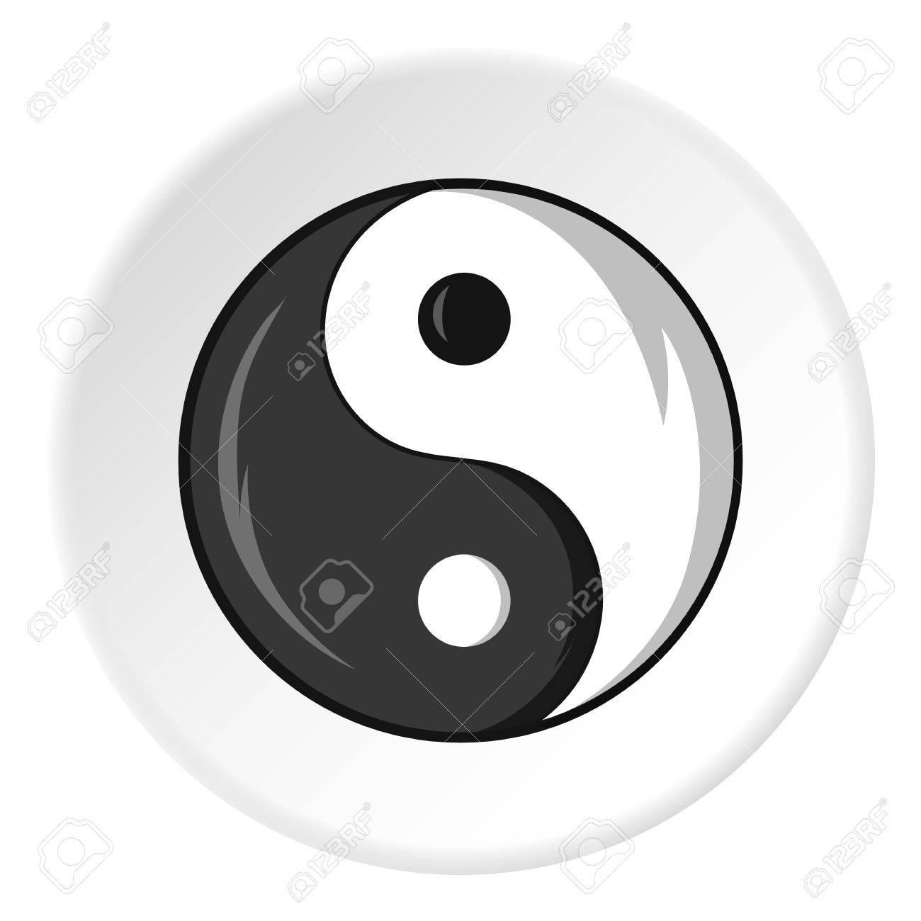 Icono De La Muestra Del Yin Yang En Estilo De Dibujos Animados