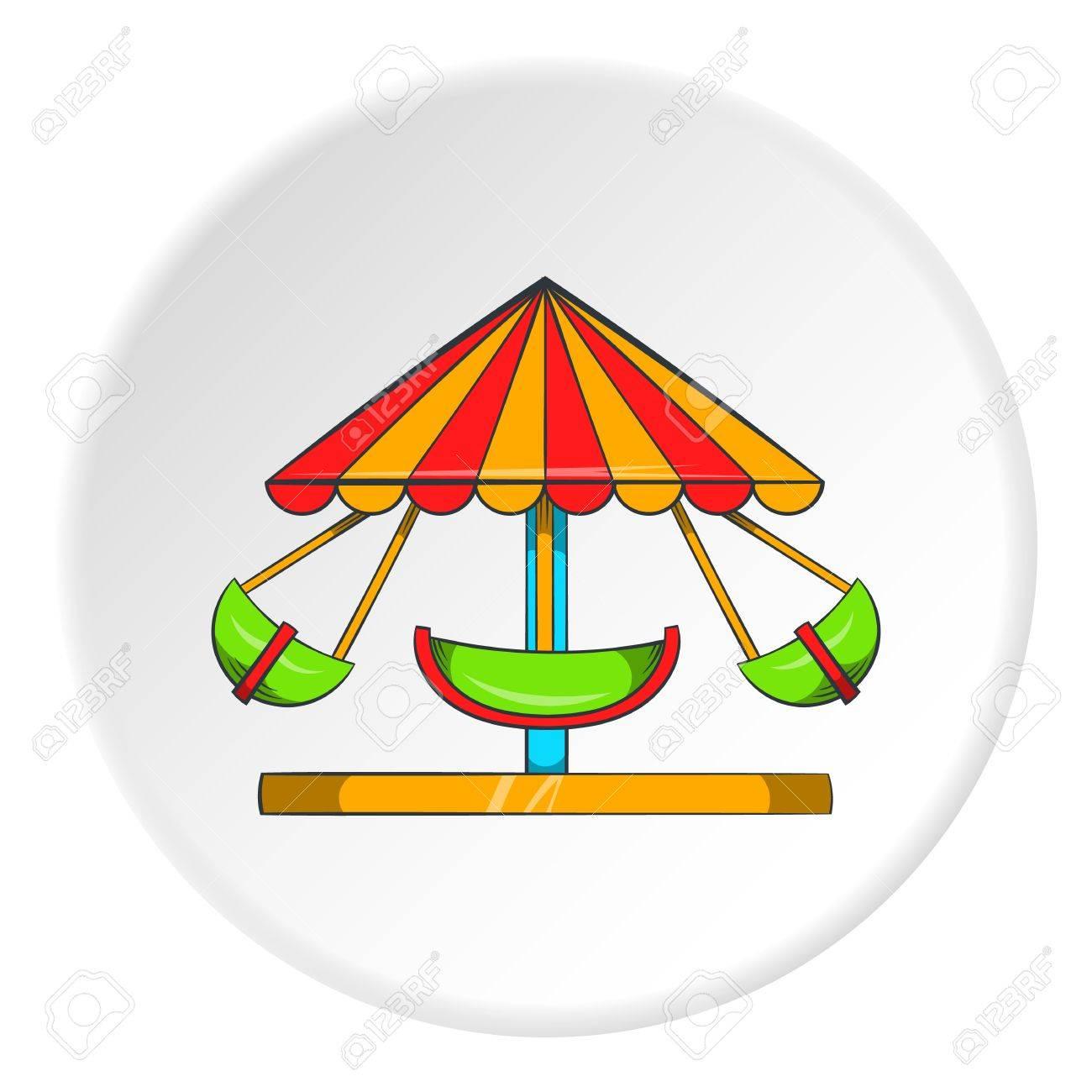 Carrousel Dessin icône de carrousel pour enfants en style dessin animé isolé sur fond