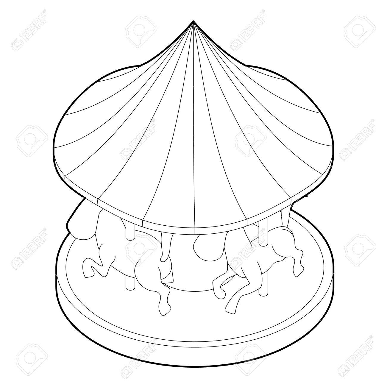 Carousel With Horses Icon Outline Illustration Of Carousel With Royalty Free Cliparts Vectors And Stock Illustration Image 63690135