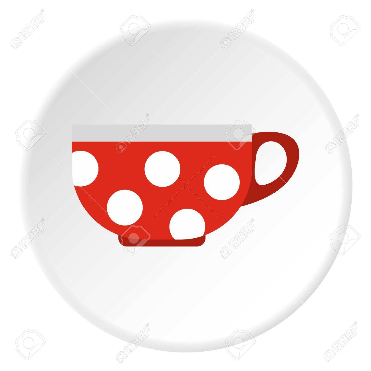 Red Mug With White Polka Dots Icon. Flat Illustration Of Red ...