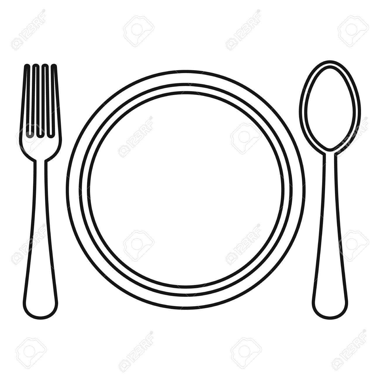 plate spoon and fork icon outline illustration of plate spoon rh 123rf com