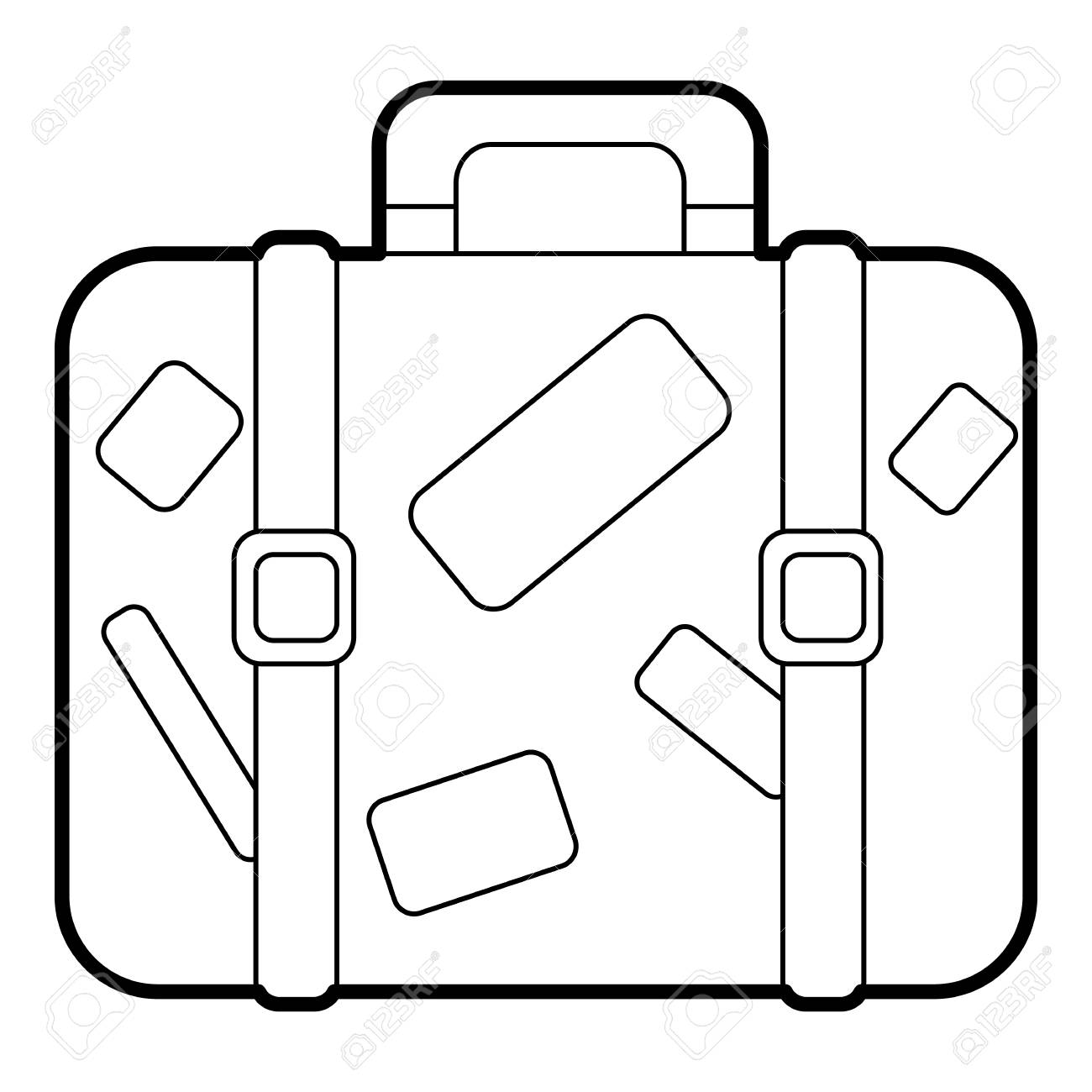 Travel suitcase with stickers icon. Outline illustration of suitcase..