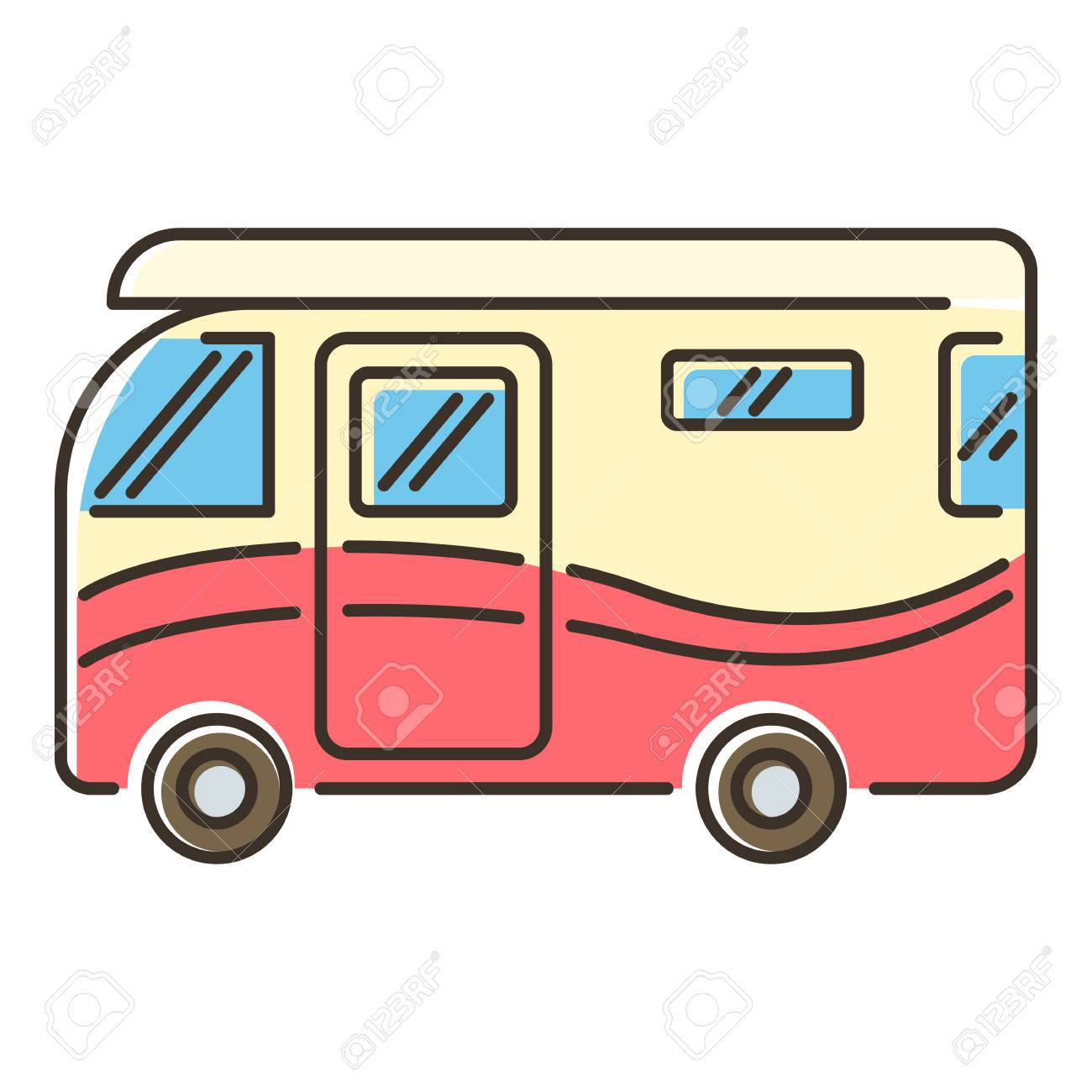 Camper van icon. Flat illustration of vector icon for web