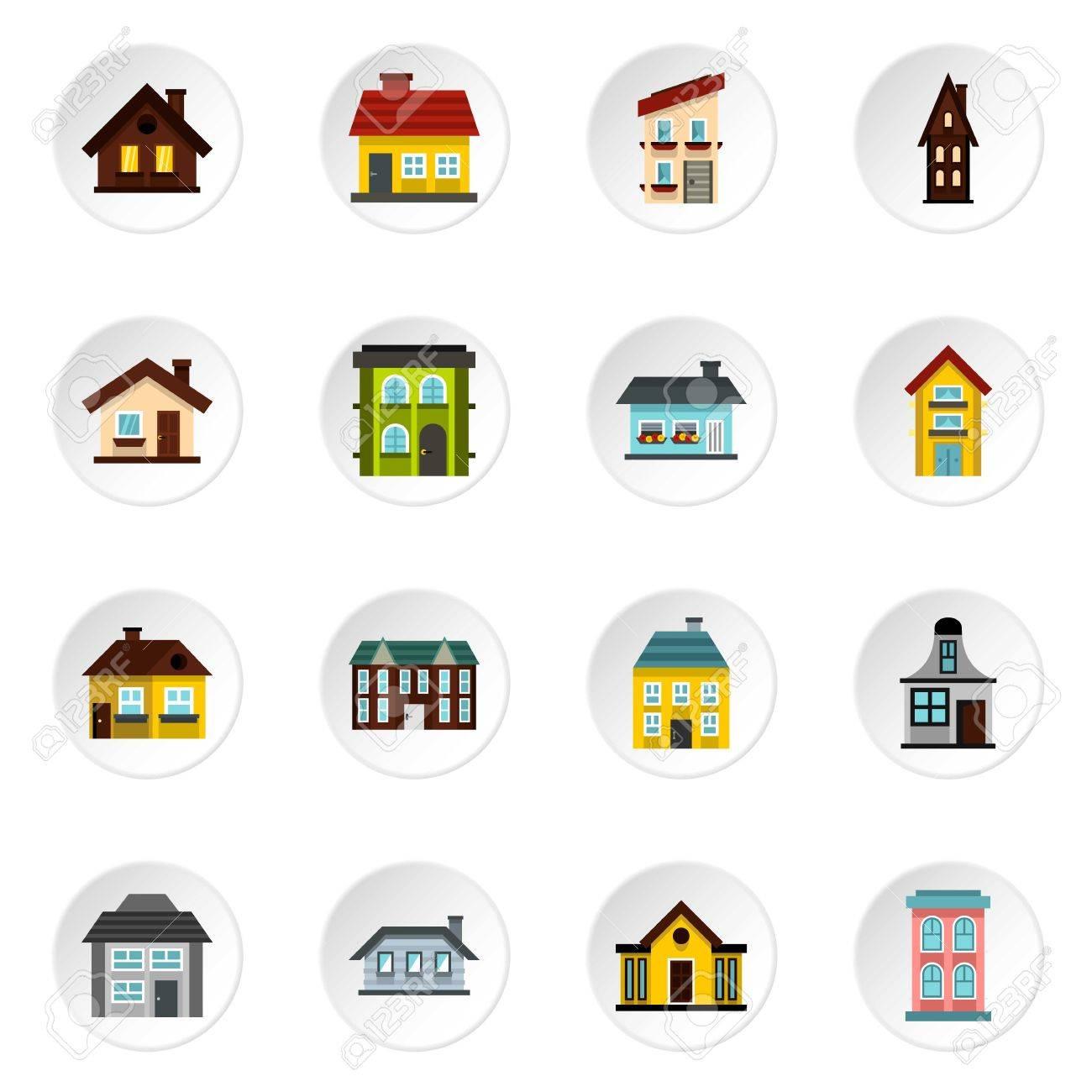 49c92ef020947 Foto de archivo - Iconos de las casas. Ilustración plana de 16 iconos casa  de vectores para la web