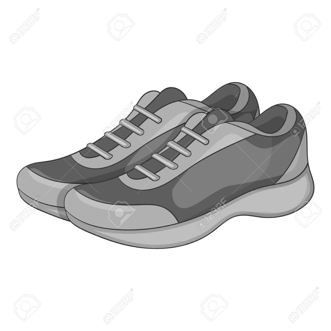 Grigia Di Monocromatica Icona Sneakers L'illustrazione Sportive qOXUwUvn