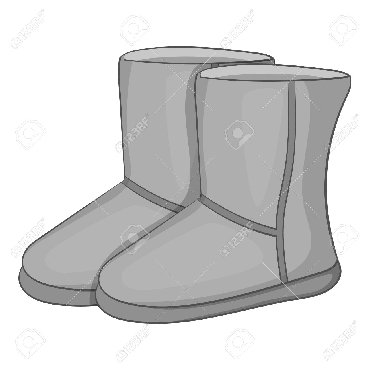 Vector - Winter ugg boots icon. Gray monochrome illustration of winter ugg boots vector icon for web