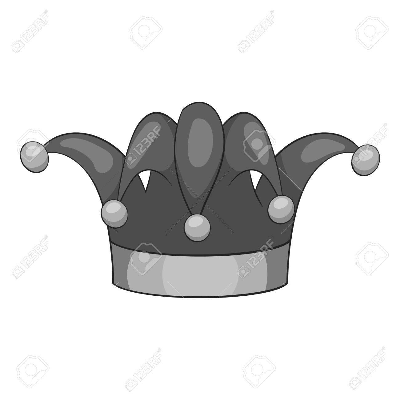 Foto de archivo - Icono de sombrero de payaso. ilustración en blanco y  negro gris del payaso del vector del icono del sombrero para la web 833d4db3ae1
