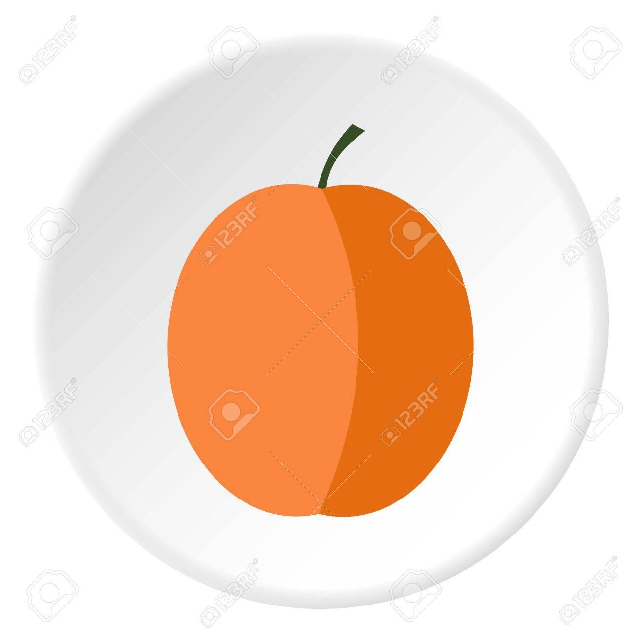 Peach icon. Flat illustration of peach vector icon for web - 64404238