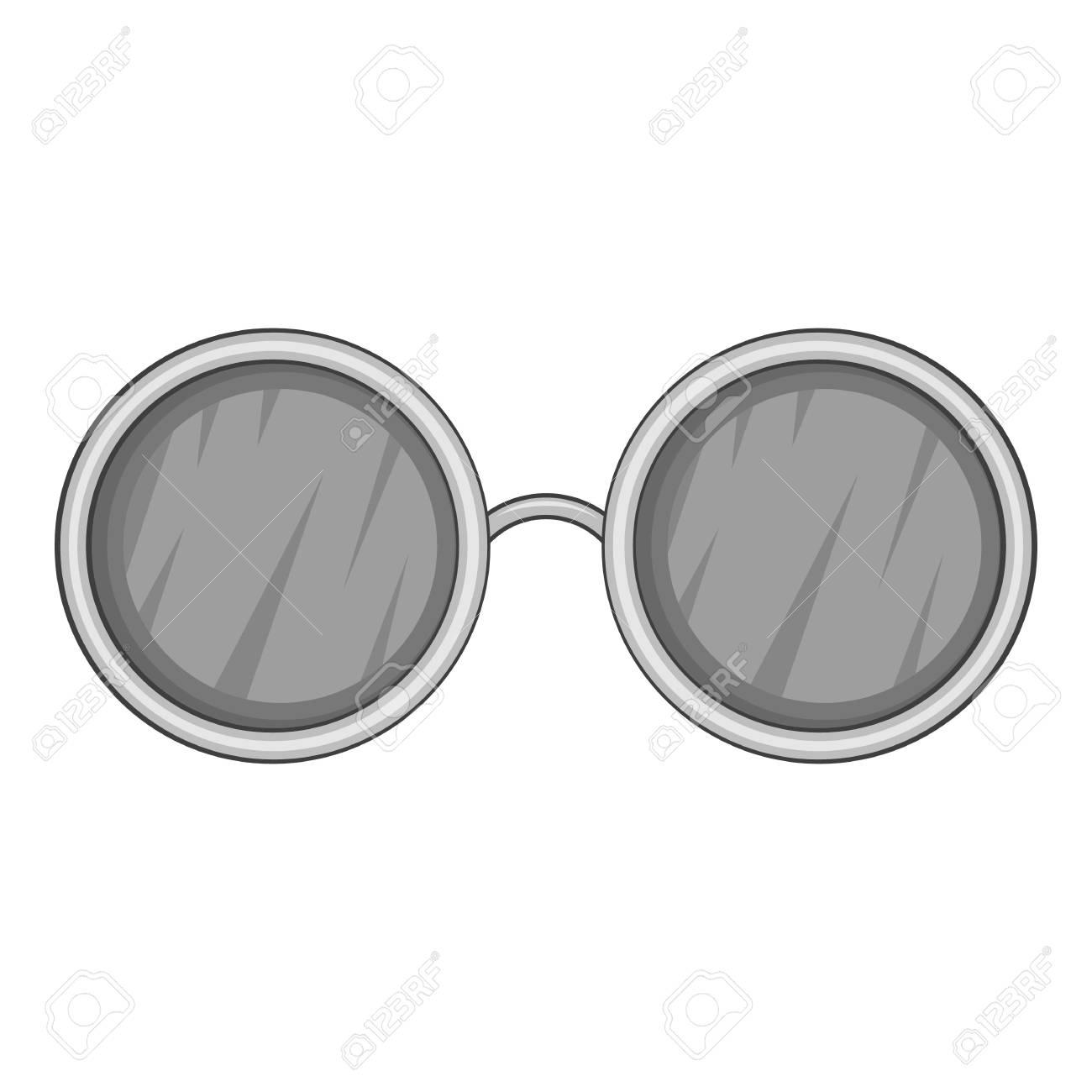 d119b73318 Foto de archivo - Gafas con icono negro lentes redondos. Ilustración  monocroma gris de icono de vector de vidrios para diseño web