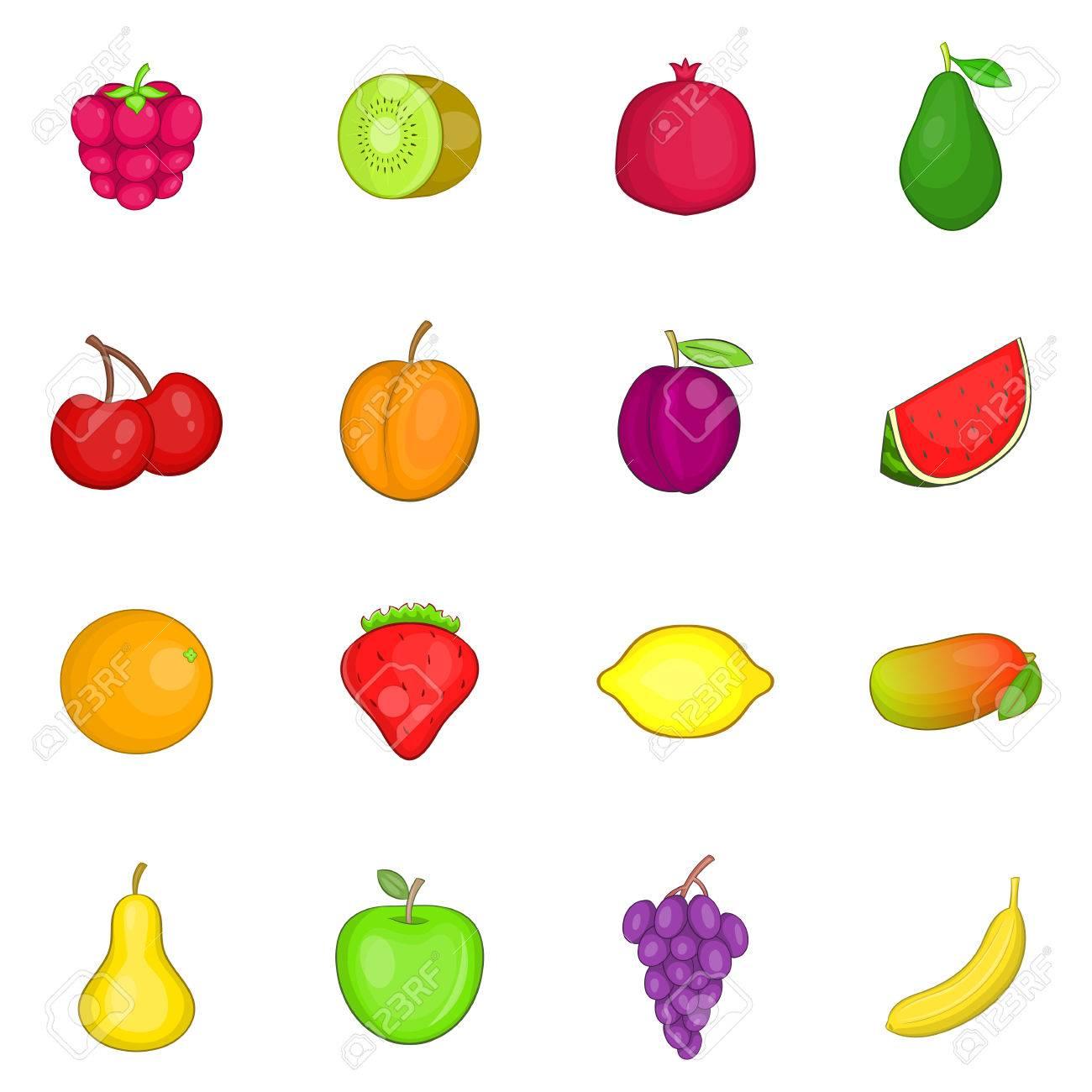 conjunto de iconos de frutas ilustración de dibujos animados de 16