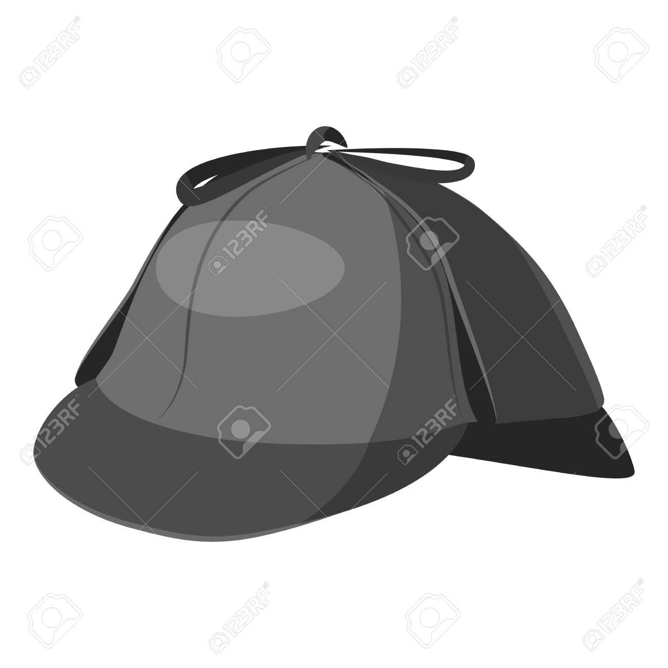 244780a613ffe Foto de archivo - Sombrero detective icono. Ilustración monocromática gris  del icono de vector de detective de sombrero para web