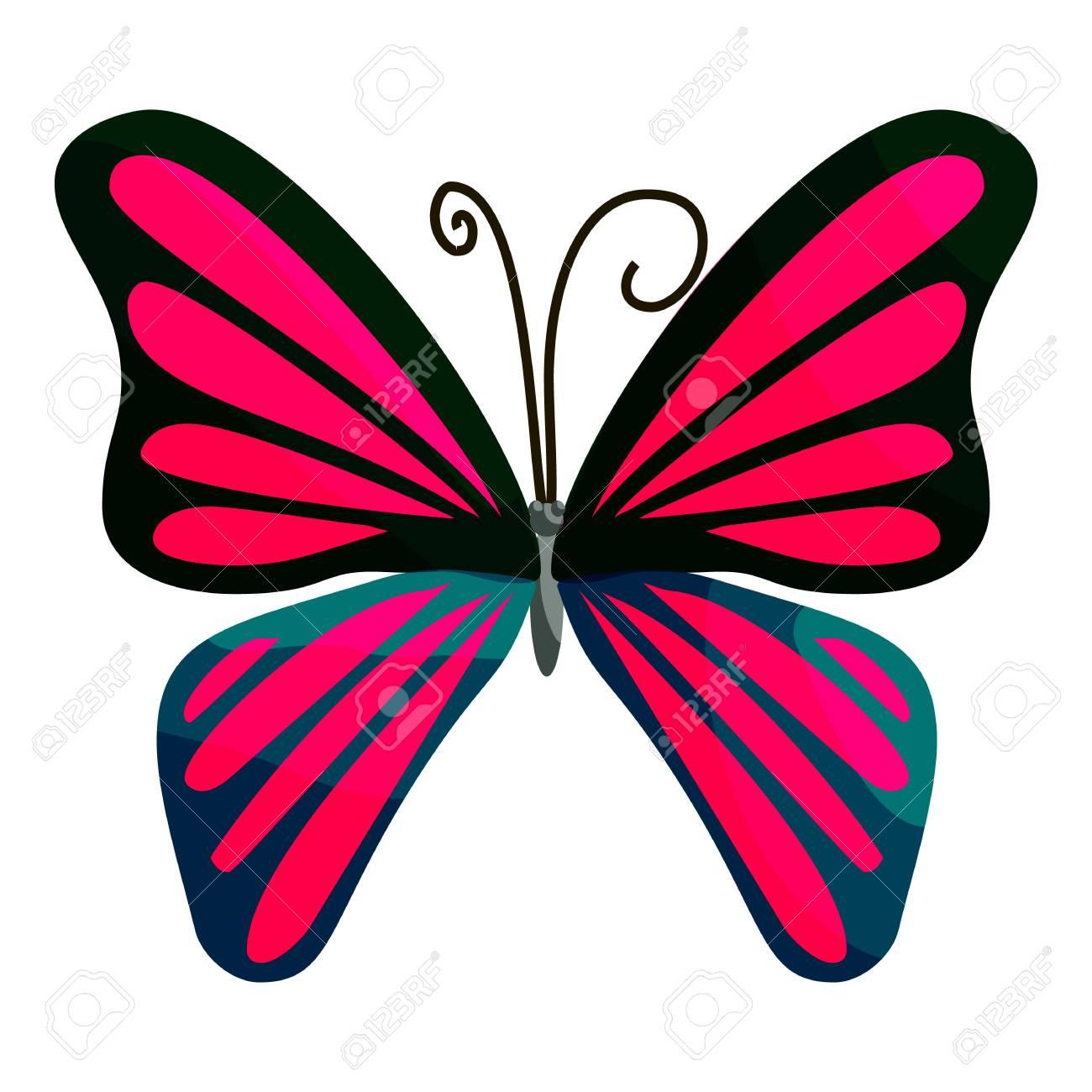 Icono De La Mariposa De Color Rosa Ilustración De Dibujos Animados