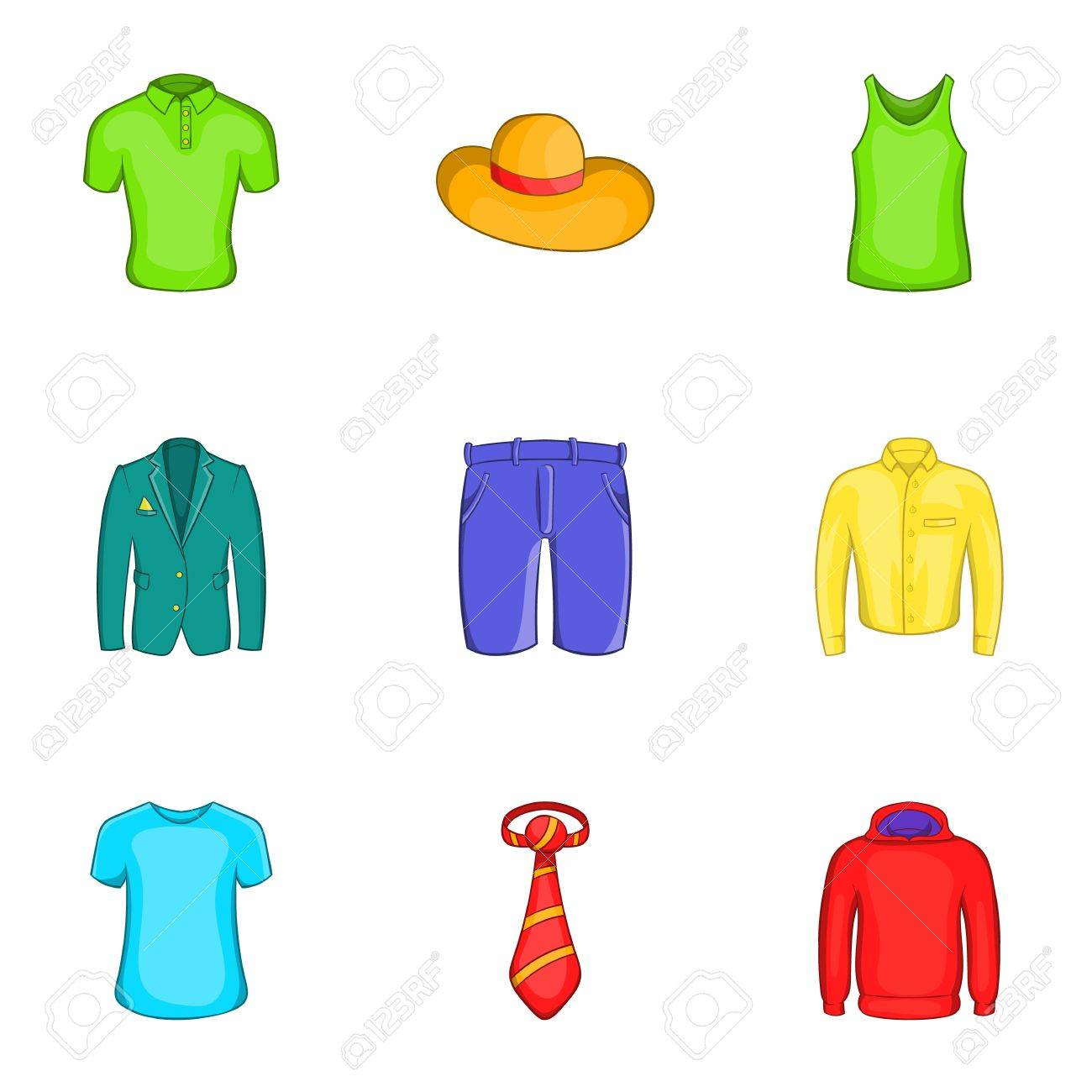 different clothes icons set cartoon illustration of 9 different