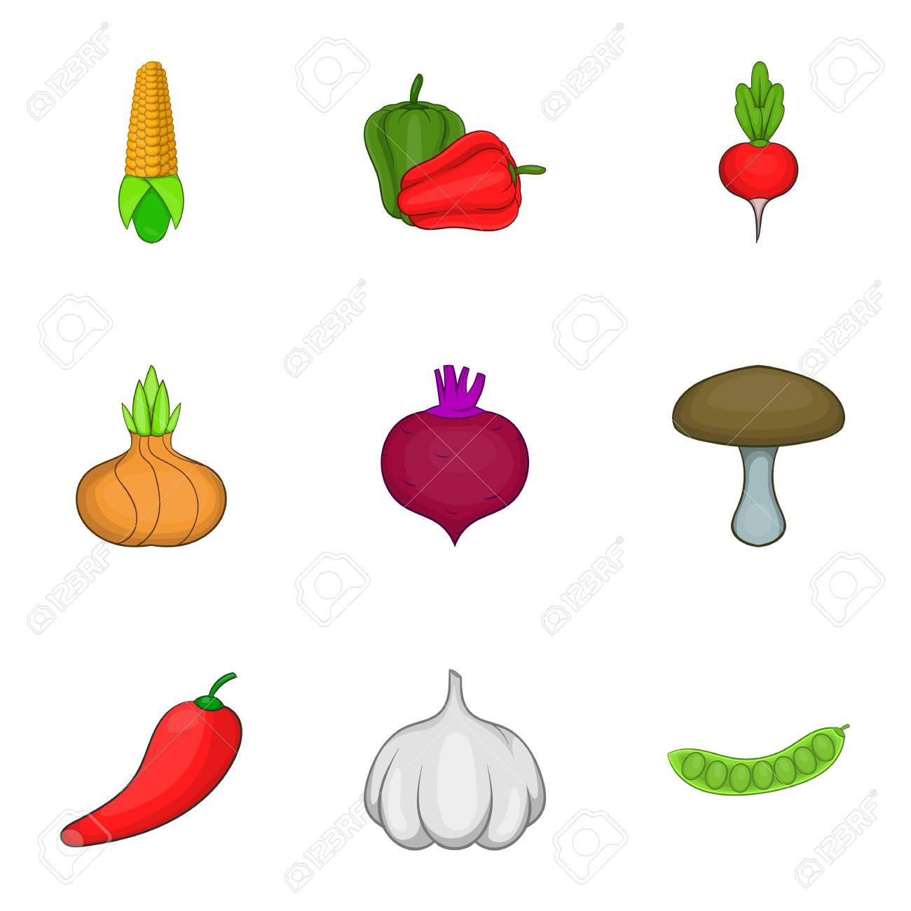 Conjunto De Iconos De Verduras De La Granja Ilustración De Dibujos Animados De Iconos De Vector De 9 Verduras De Granja Para Web