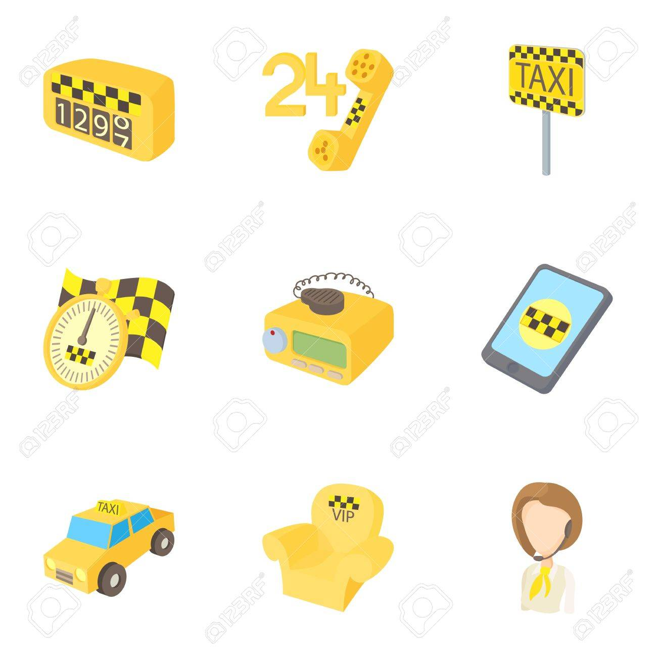 Taxi Icons Set Cartoon Illustration Of 9 Vector For Web Stock